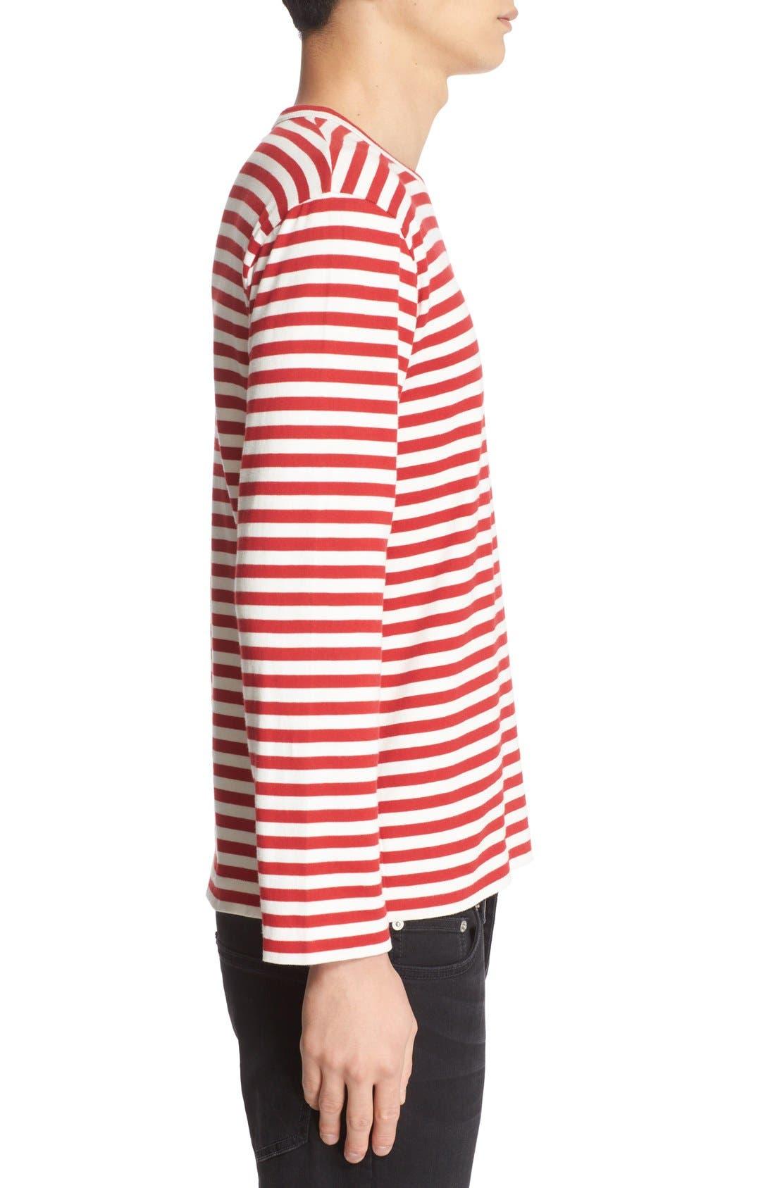 COMME DES GARÇONS PLAY, Stripe Long Sleeve T-Shirt, Alternate thumbnail 3, color, RED/ WHITE