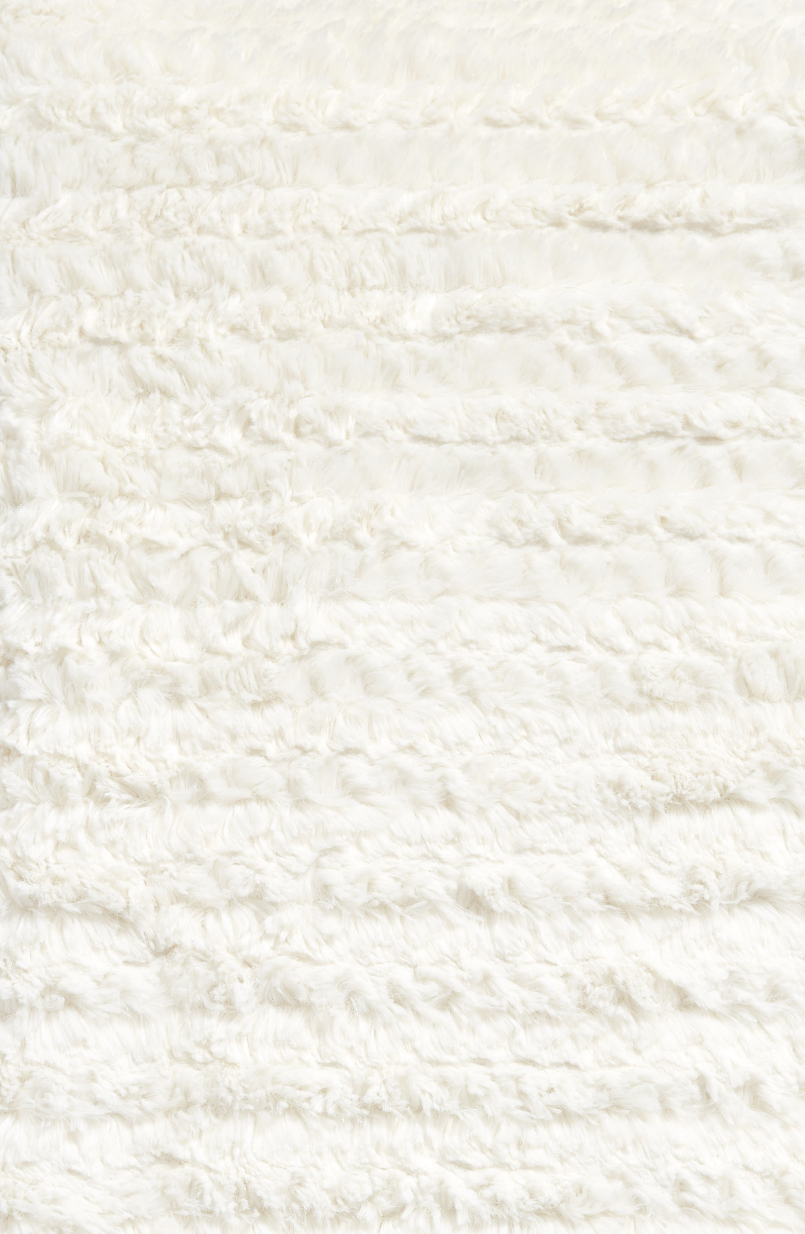 NORDSTROM AT HOME, Faux Fur Throw Blanket, Alternate thumbnail 2, color, IVORY