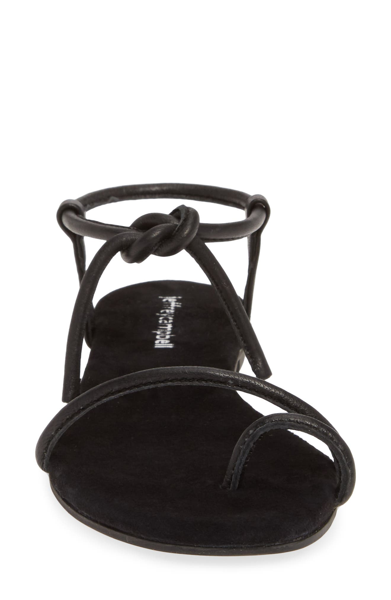 JEFFREY CAMPBELL, Aster Tie Sandal, Alternate thumbnail 4, color, BLACK LEATHER