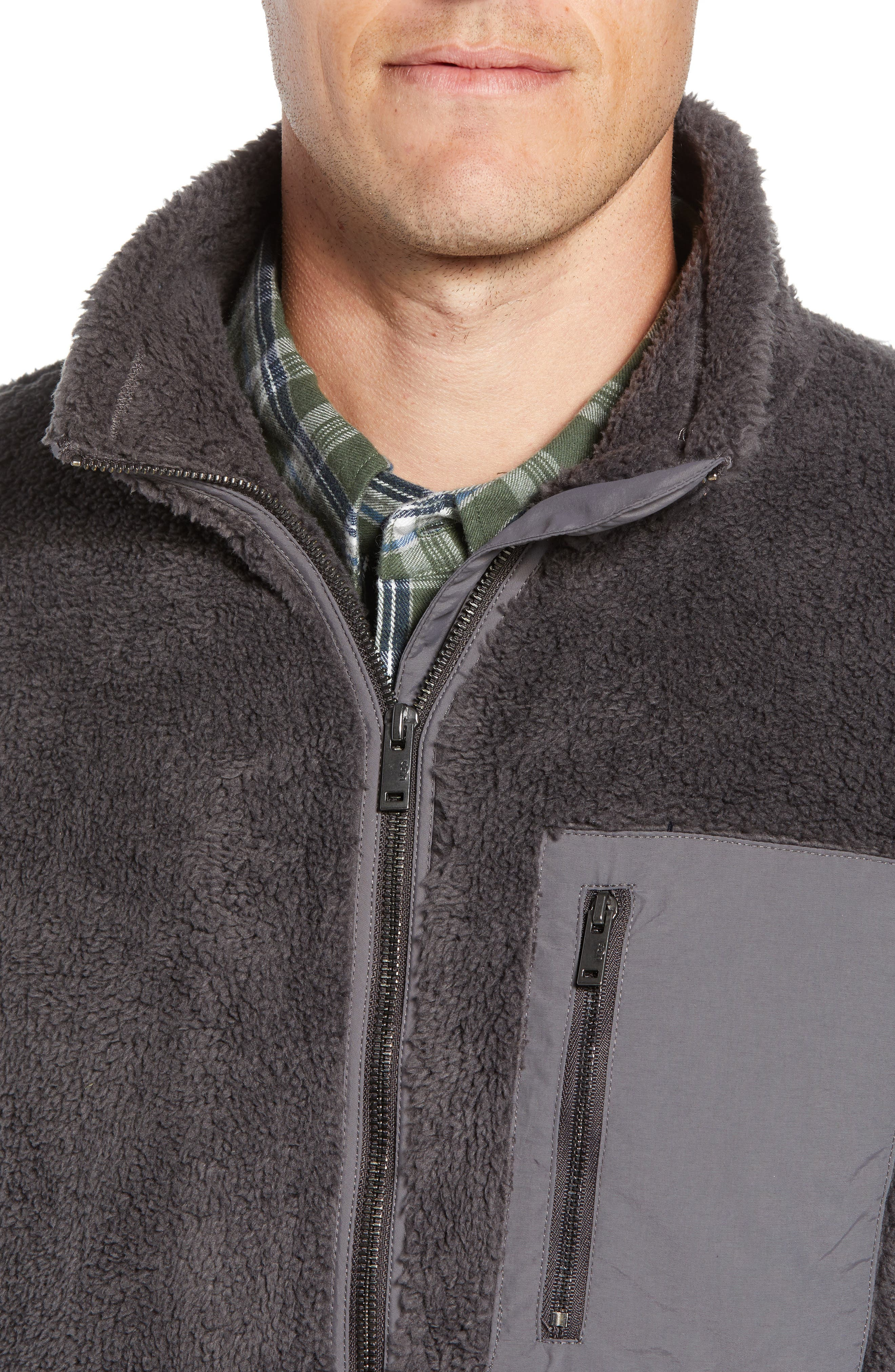 UGG<SUP>®</SUP>, Lucas High Pile Fleece Sweater Jacket, Alternate thumbnail 5, color, CHARCOAL