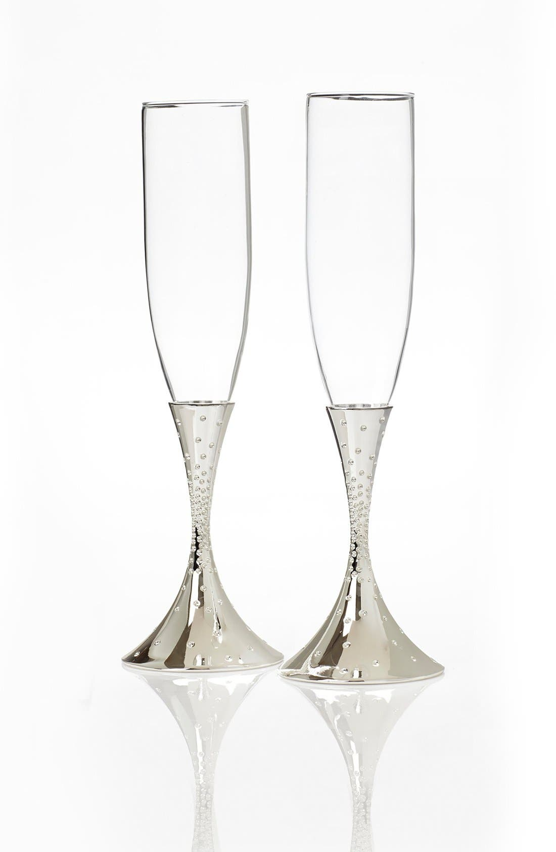 NAMBÉ, 'Dazzle' Champagne Toasting Flutes, Main thumbnail 1, color, SILVER/ GLASS