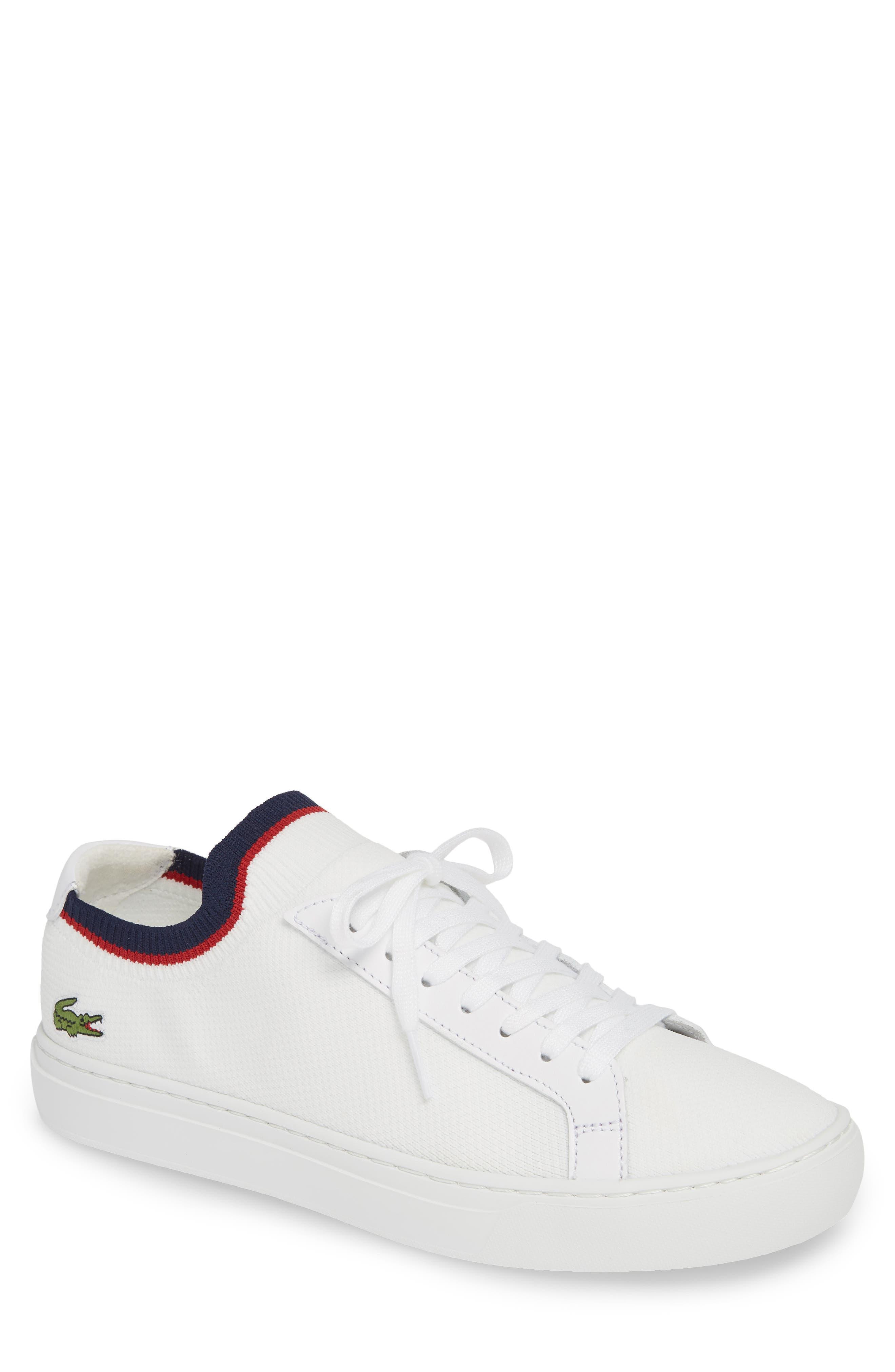 LACOSTE, Piqué Knit Sneaker, Main thumbnail 1, color, WHITE/ NAVY/ RED