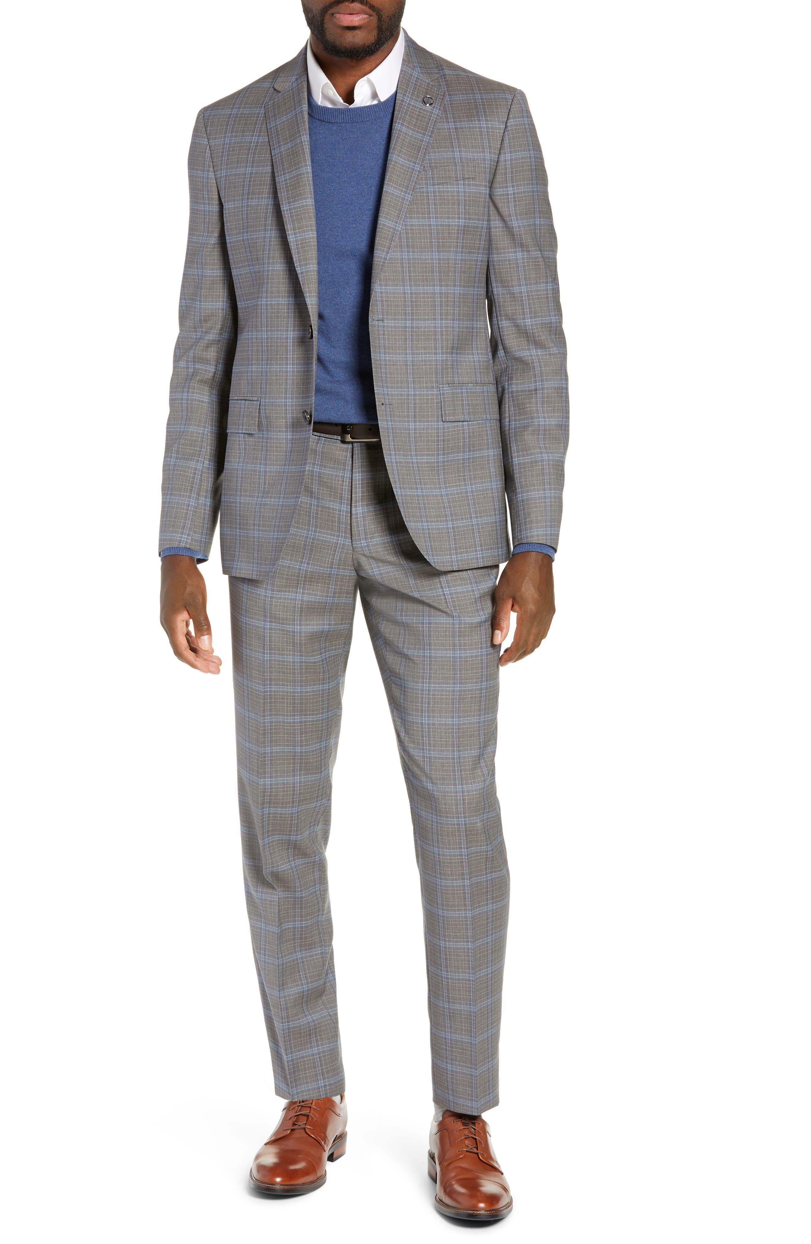 TED BAKER LONDON, Jay Trim Fit Plaid Wool Suit, Main thumbnail 1, color, LIGHT GREY