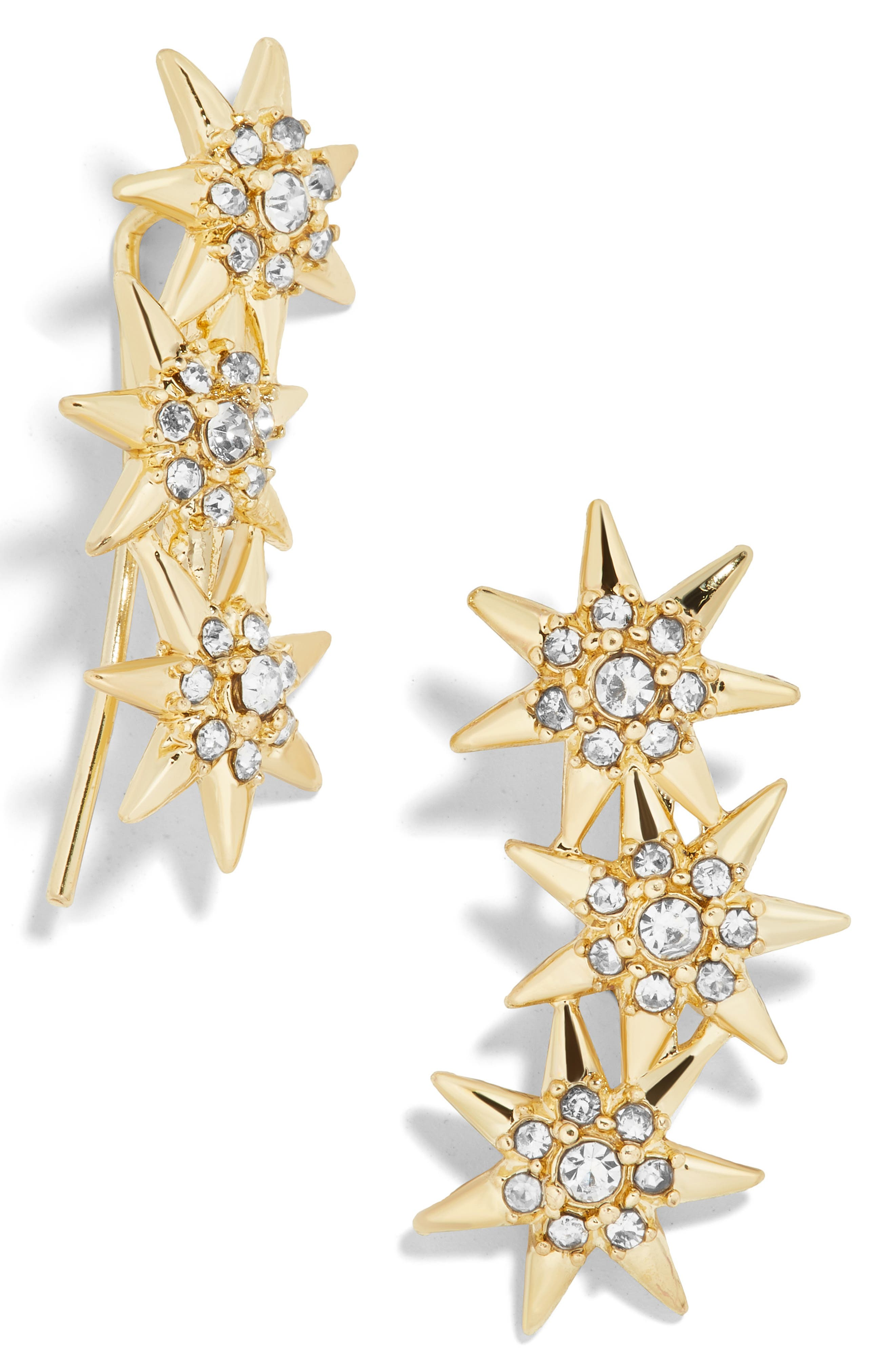 BAUBLEBAR Calyptra Star Crystal Ear Crawlers, Main, color, GOLD