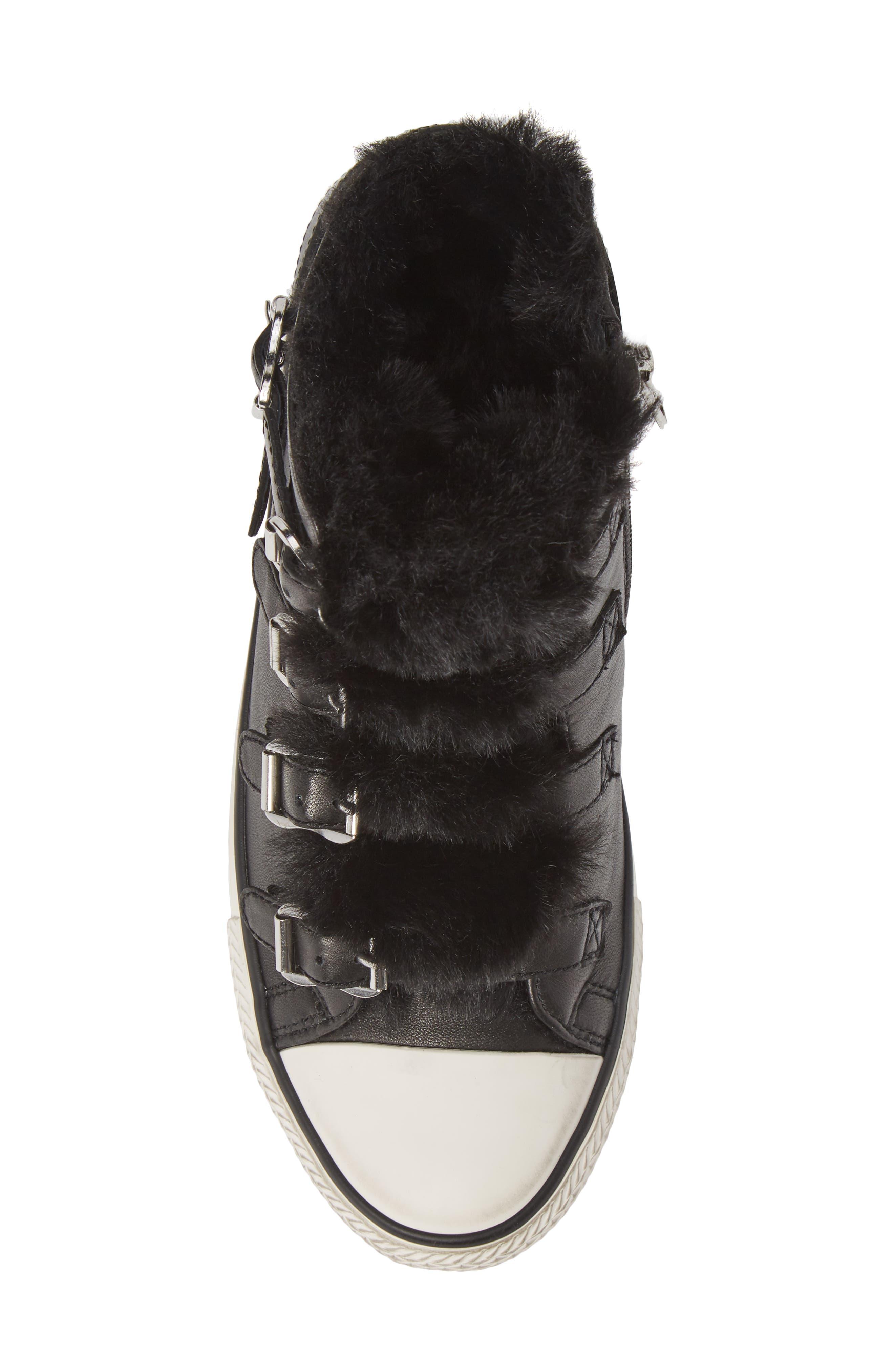 ASH, Valko High Top Sneaker, Alternate thumbnail 5, color, BLACK/ BLACK FAUX FUR