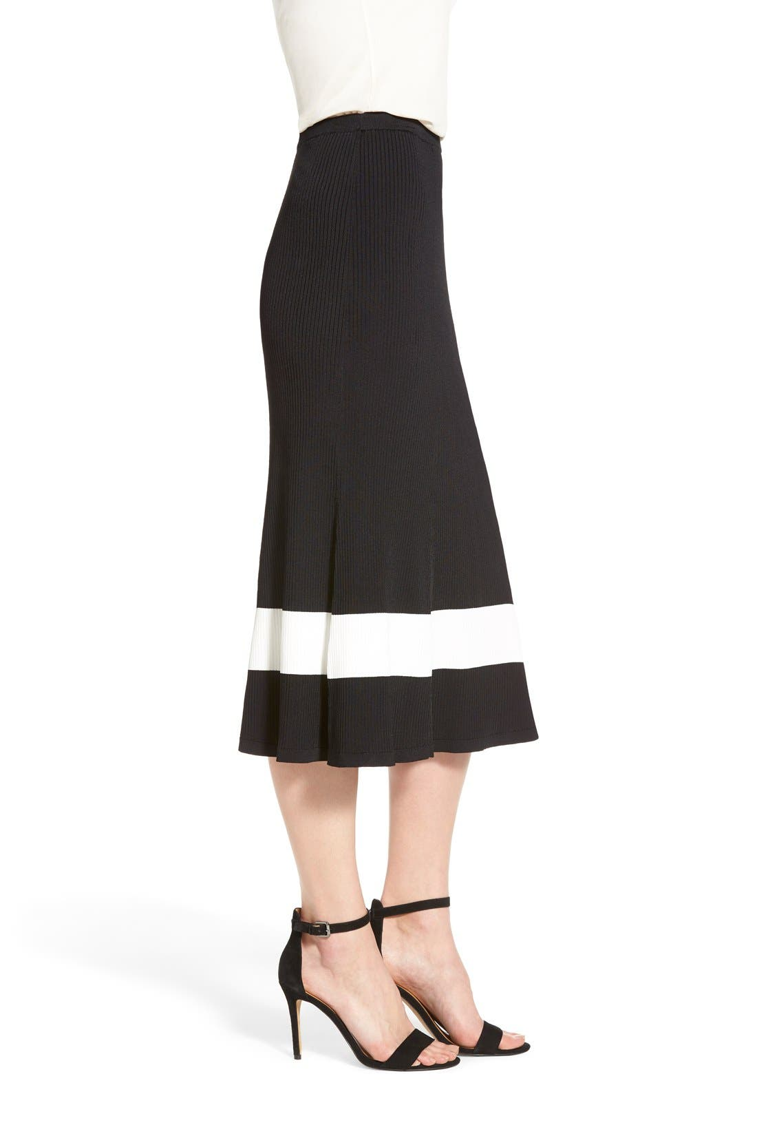 HALOGEN<SUP>®</SUP>, Long Rib Knit Sweater Skirt, Alternate thumbnail 6, color, 001