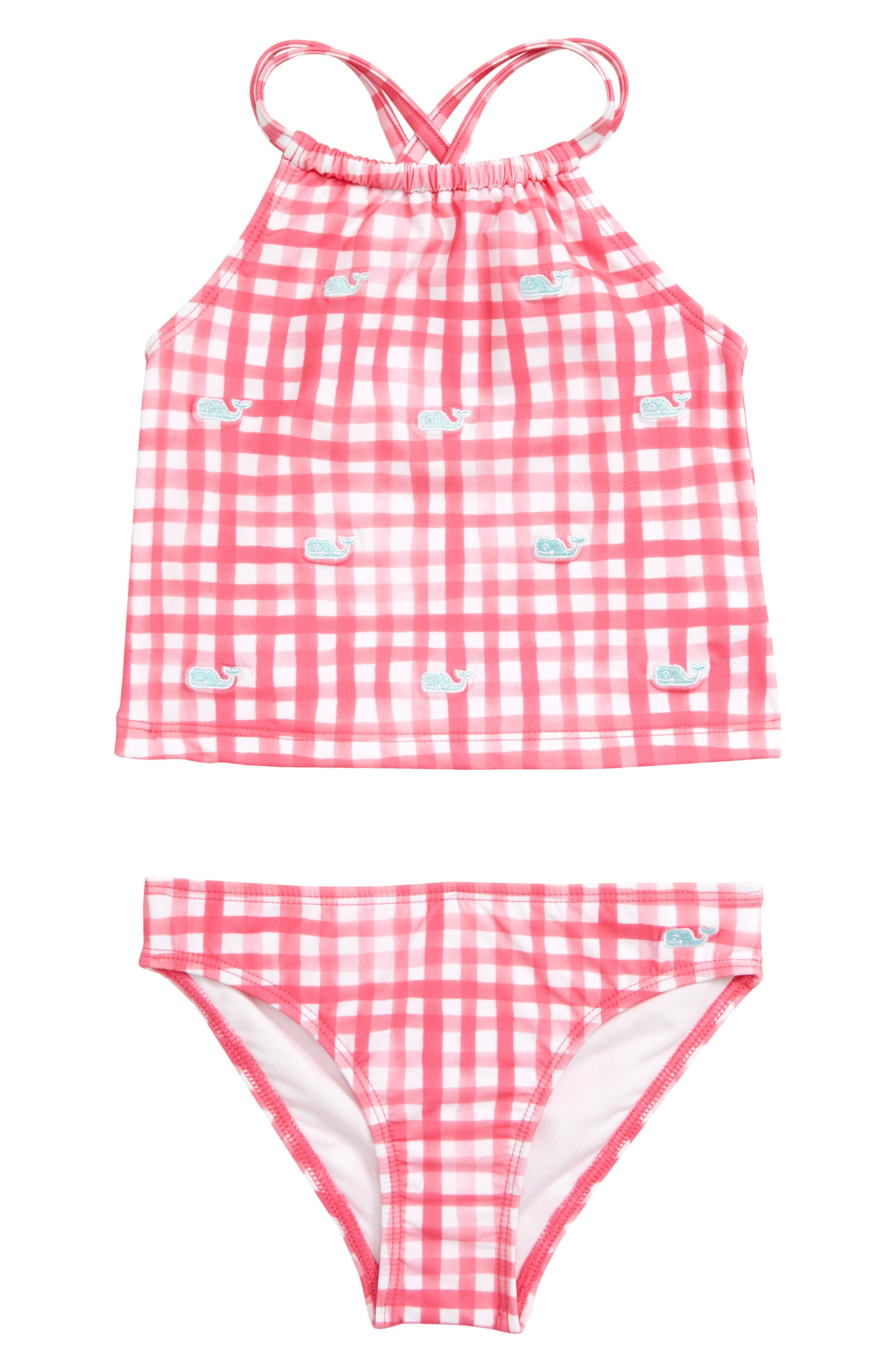VINEYARD VINES, Painted Gingham Two-Piece Tankini Swimsuit, Main thumbnail 1, color, SWEET TAFFY