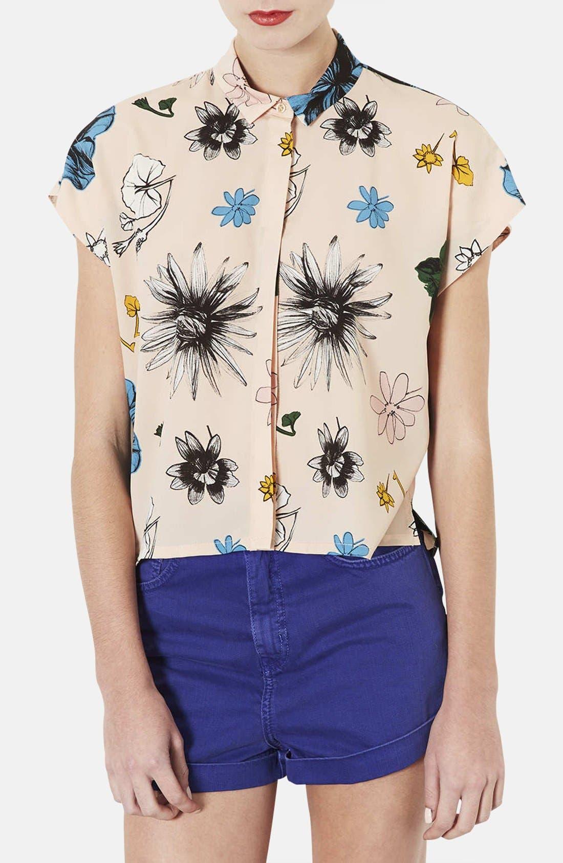 TOPSHOP 'Sophie - Tokyo Bloom' Print Shirt, Main, color, 250