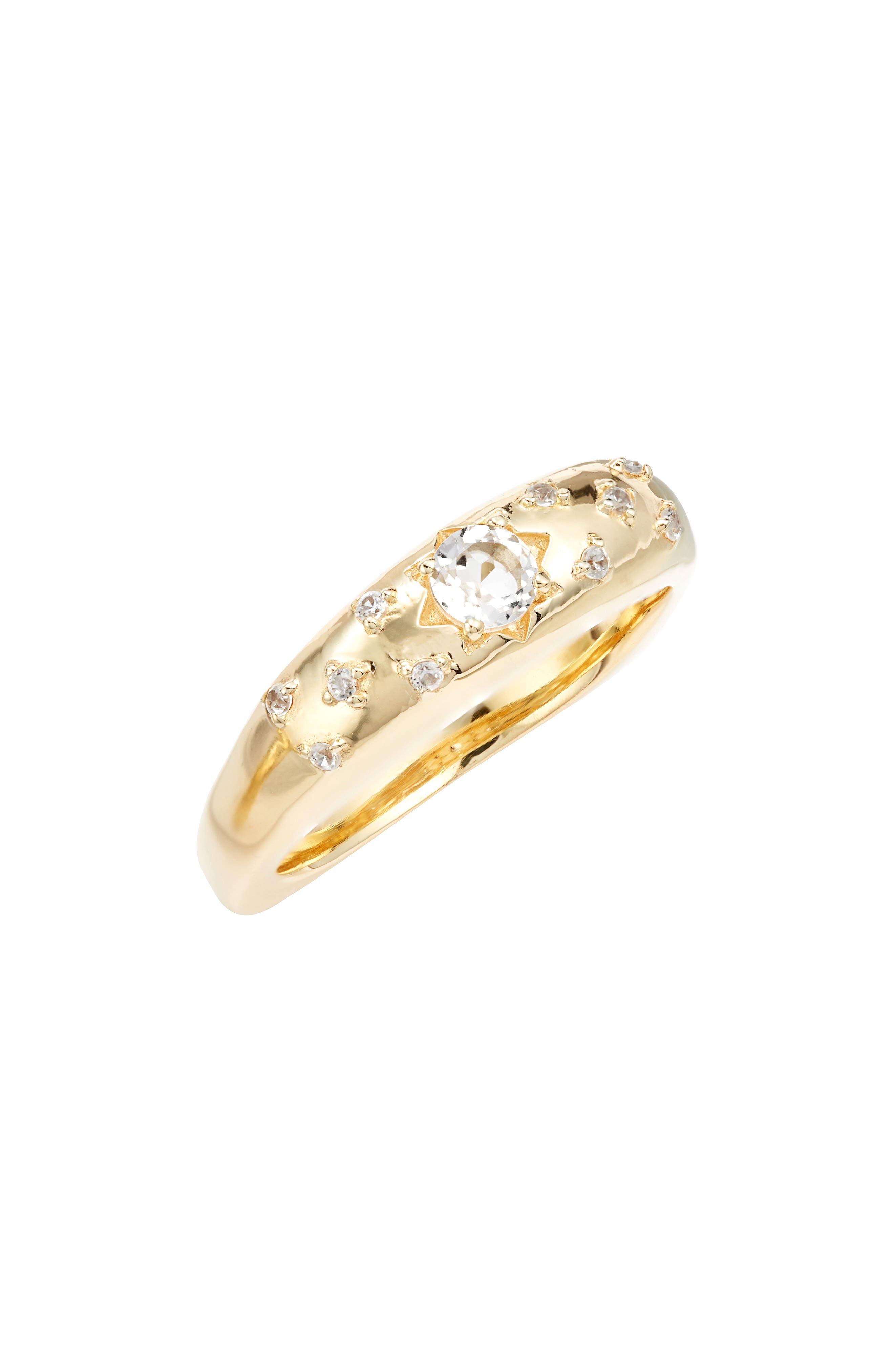 ELA RAE, White Zircon Star Ring, Main thumbnail 1, color, GOLD