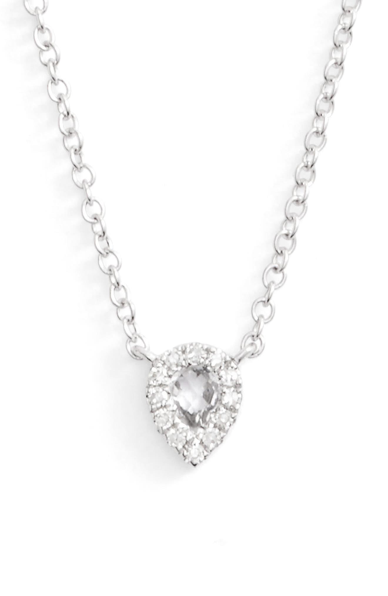 EF COLLECTION, Diamond & Topaz Teardrop Pendant Necklace, Main thumbnail 1, color, WHITE GOLD