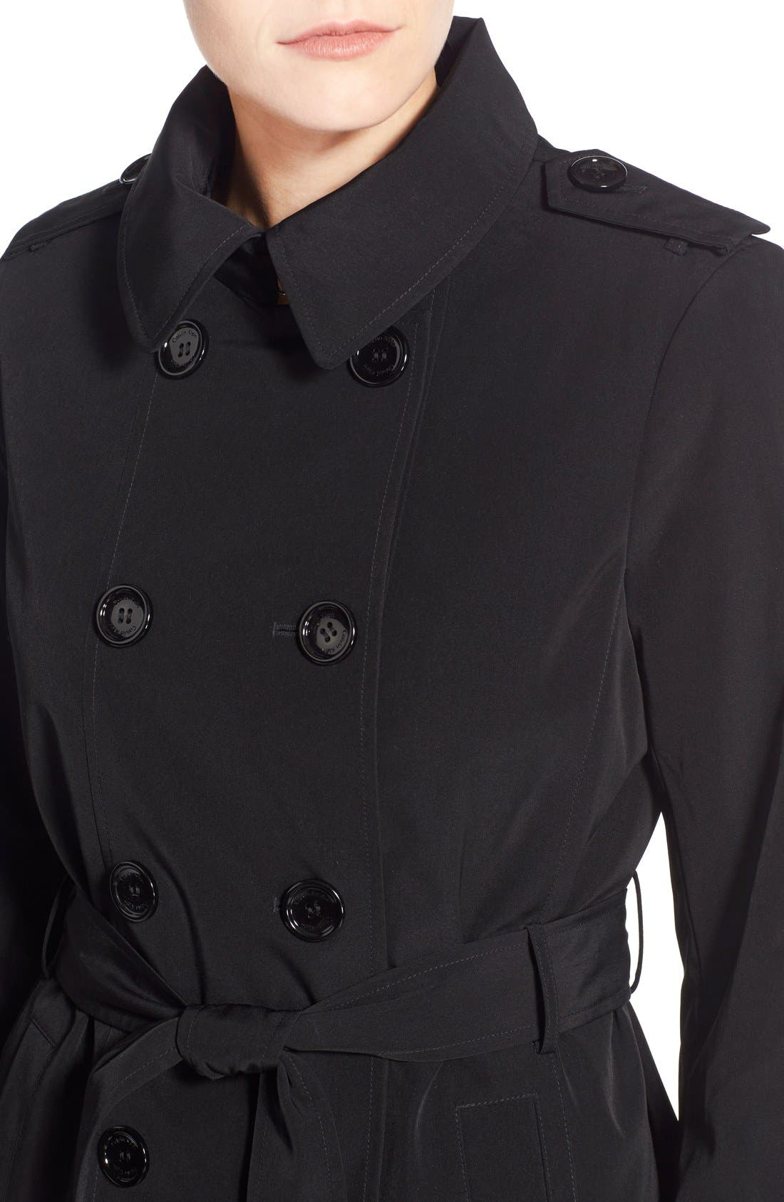 CALVIN KLEIN, Double Breasted Trench Coat, Alternate thumbnail 5, color, 001