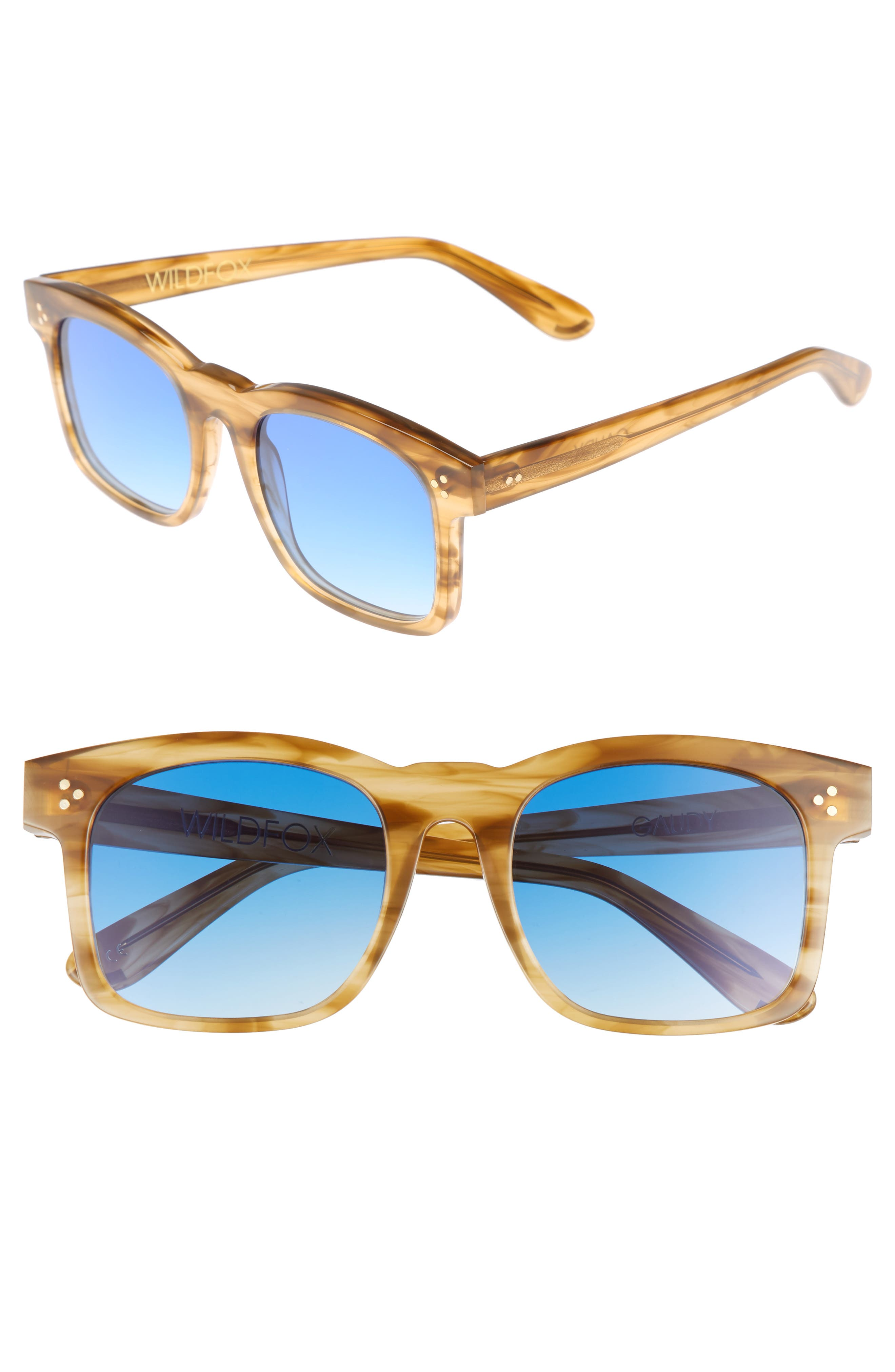 WILDFOX Gaudy Zero 51mm Flat Square Sunglasses, Main, color, SIERRA TORTOISE