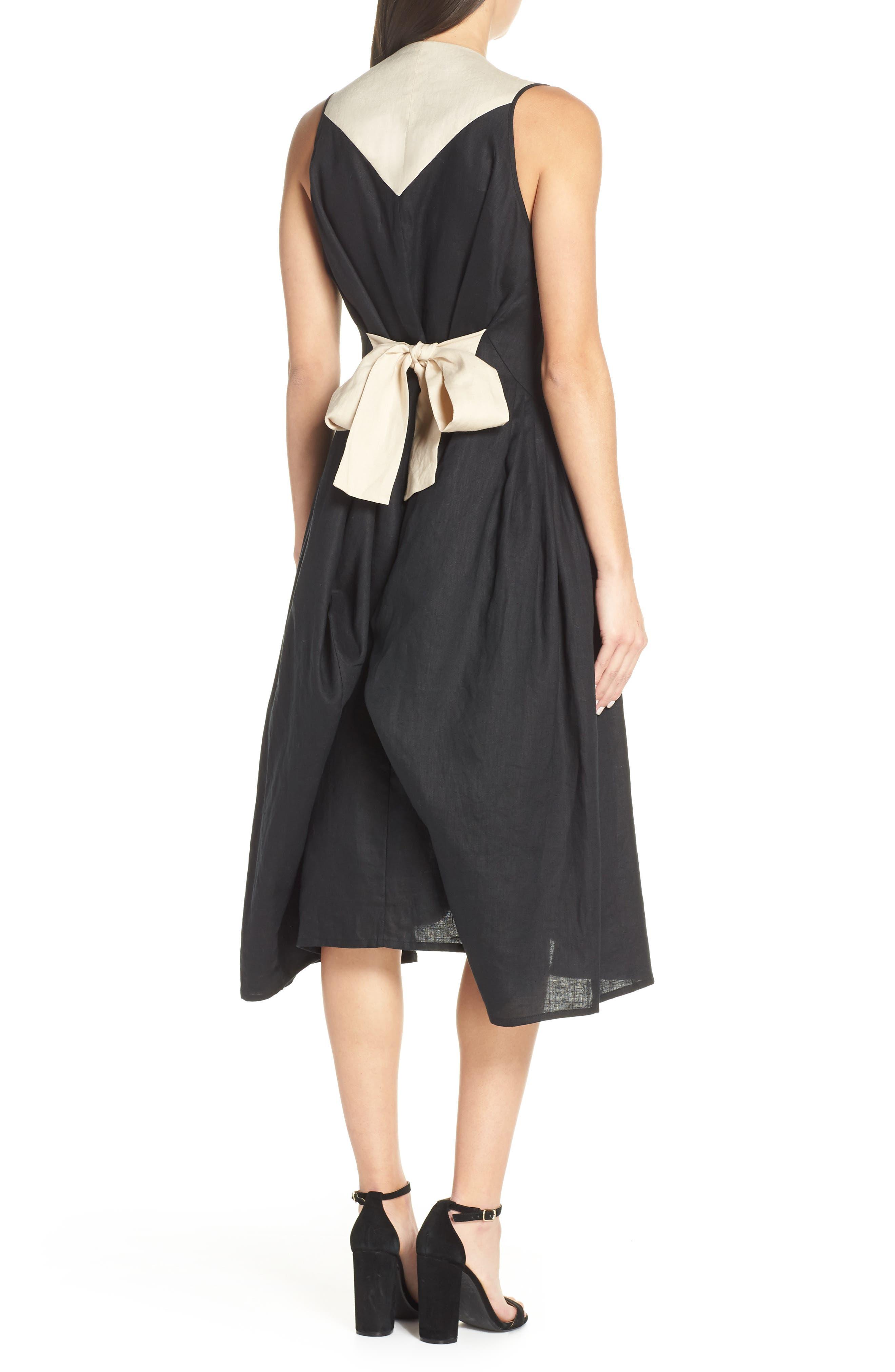 CAARA, Betha Colorblock Tie Back Dress, Alternate thumbnail 2, color, 001