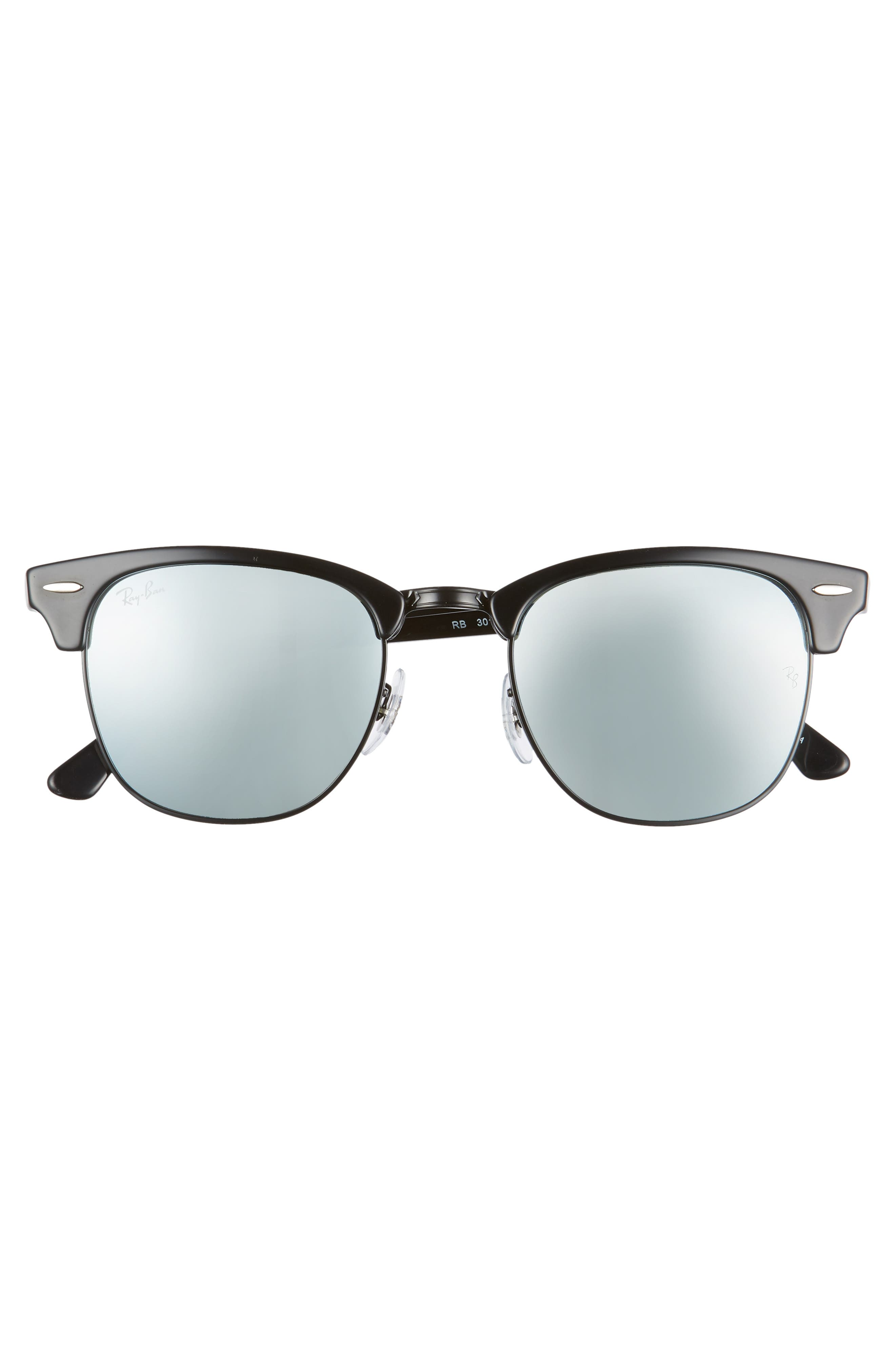 RAY-BAN, Standard Clubmaster 51mm Sunglasses, Alternate thumbnail 3, color, BLACK/ BLUE MIRROR