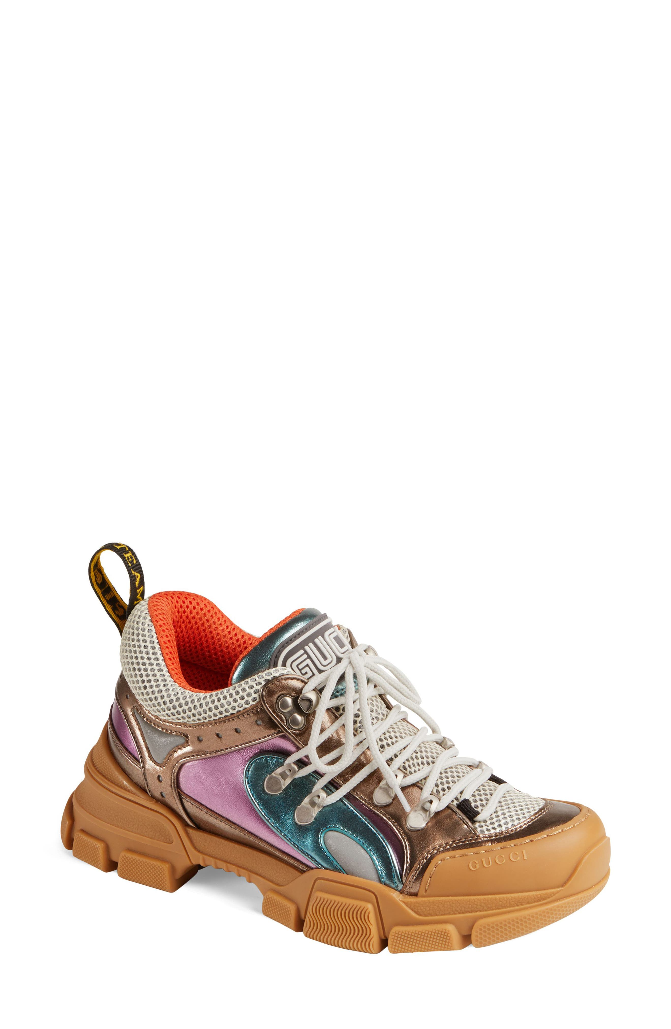 GUCCI, Flashtrek Lace-Up Sneaker, Main thumbnail 1, color, BROWN/ BLUE/ PINK