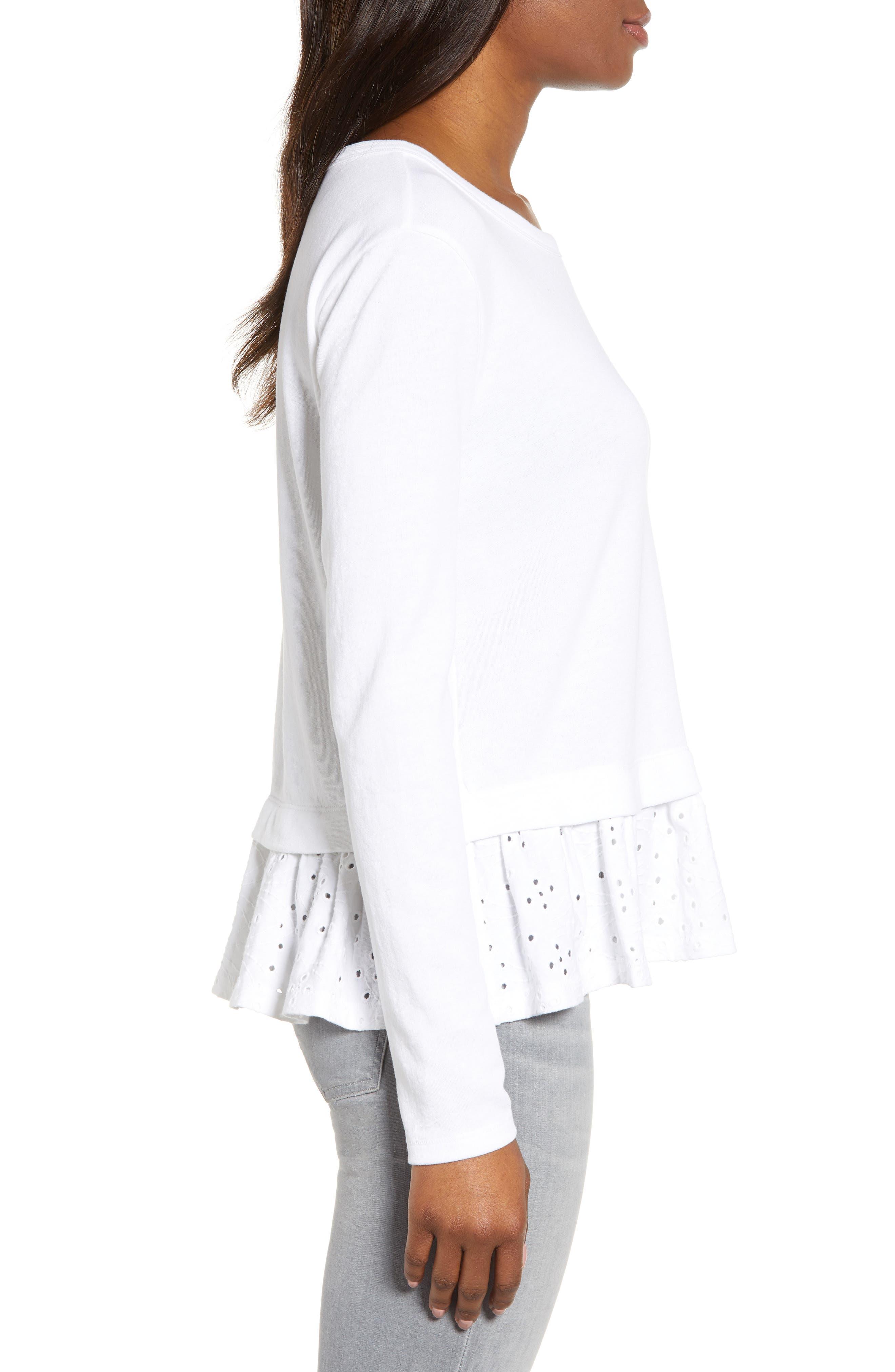 CASLON<SUP>®</SUP>, Eyelet Peplum Sweatshirt, Alternate thumbnail 3, color, WHITE