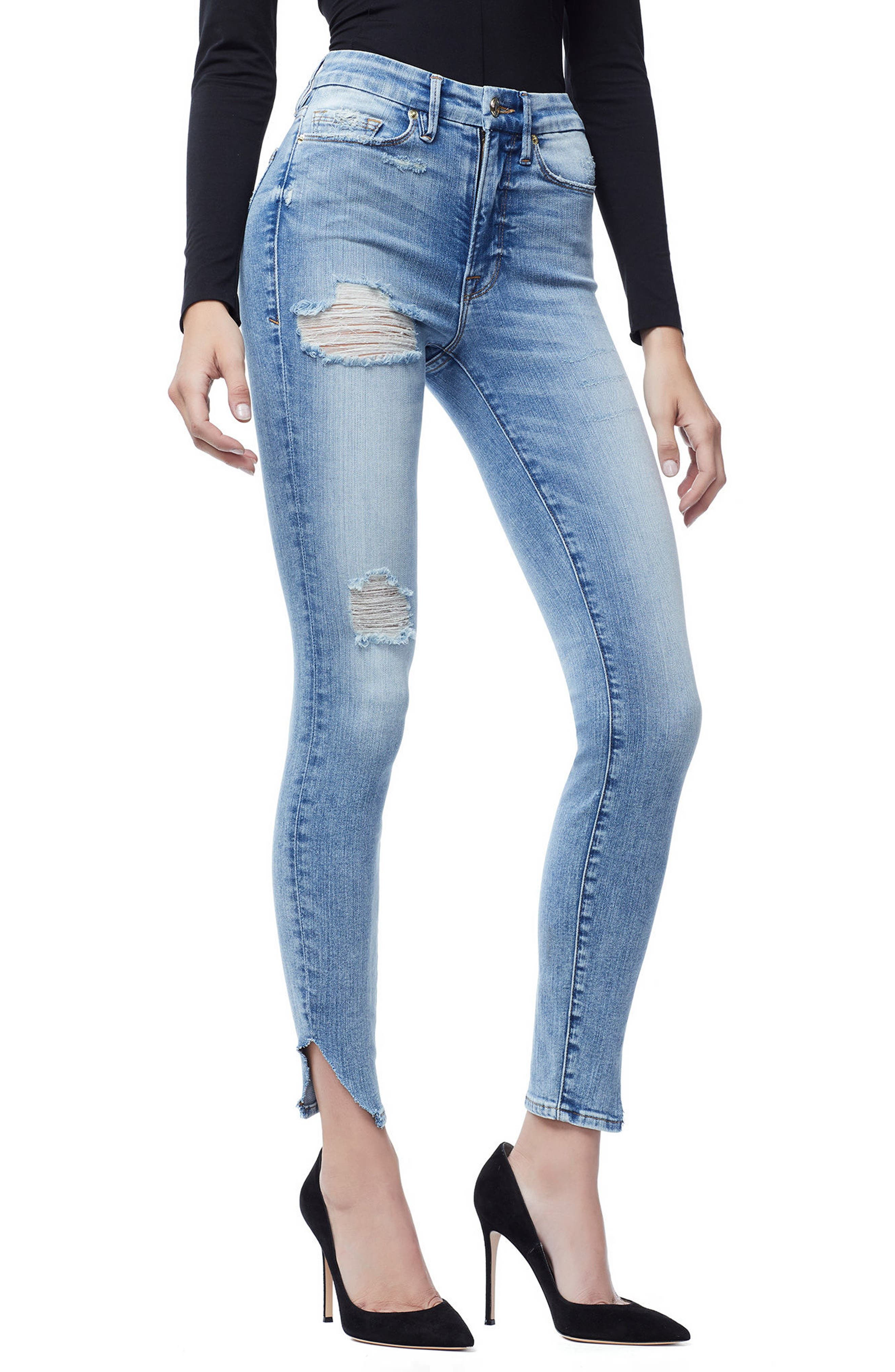 GOOD AMERICAN, Good Waist Side Triangle Crop Skinny Jeans, Alternate thumbnail 5, color, BLUE 160