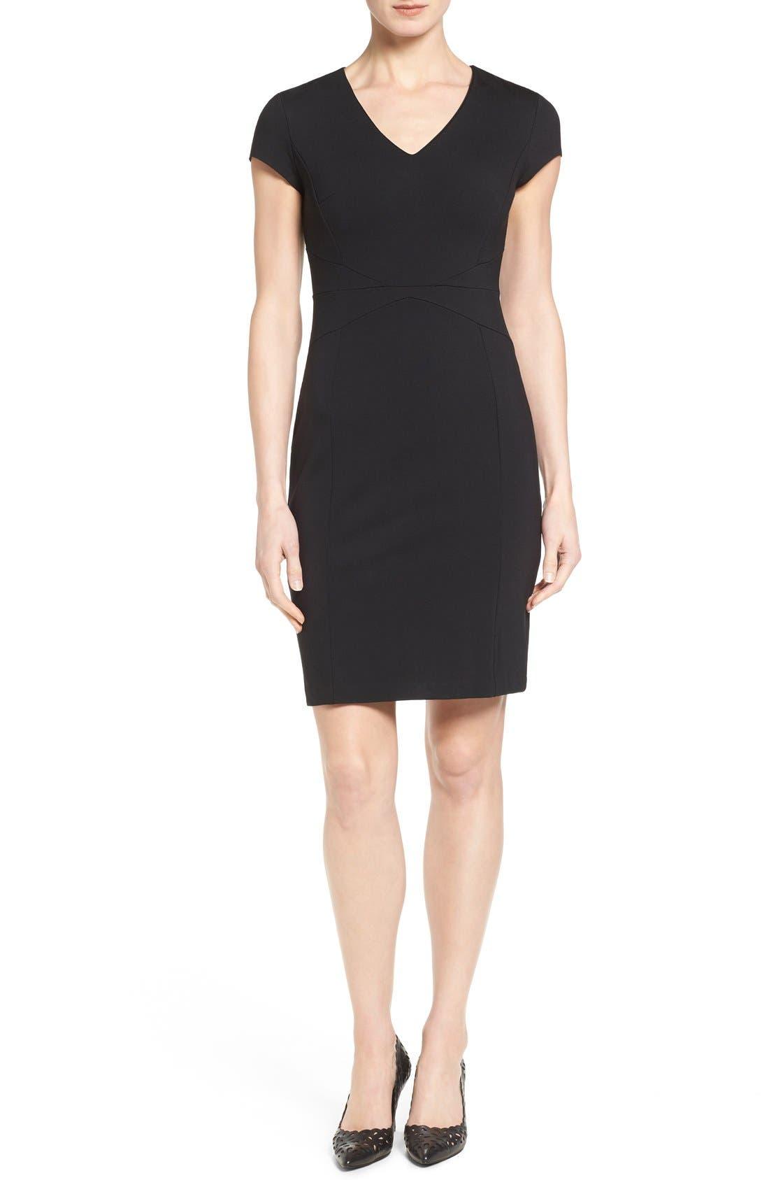 HALOGEN<SUP>®</SUP>, Seamed V-Neck Ponte Sheath Dress, Main thumbnail 1, color, 001