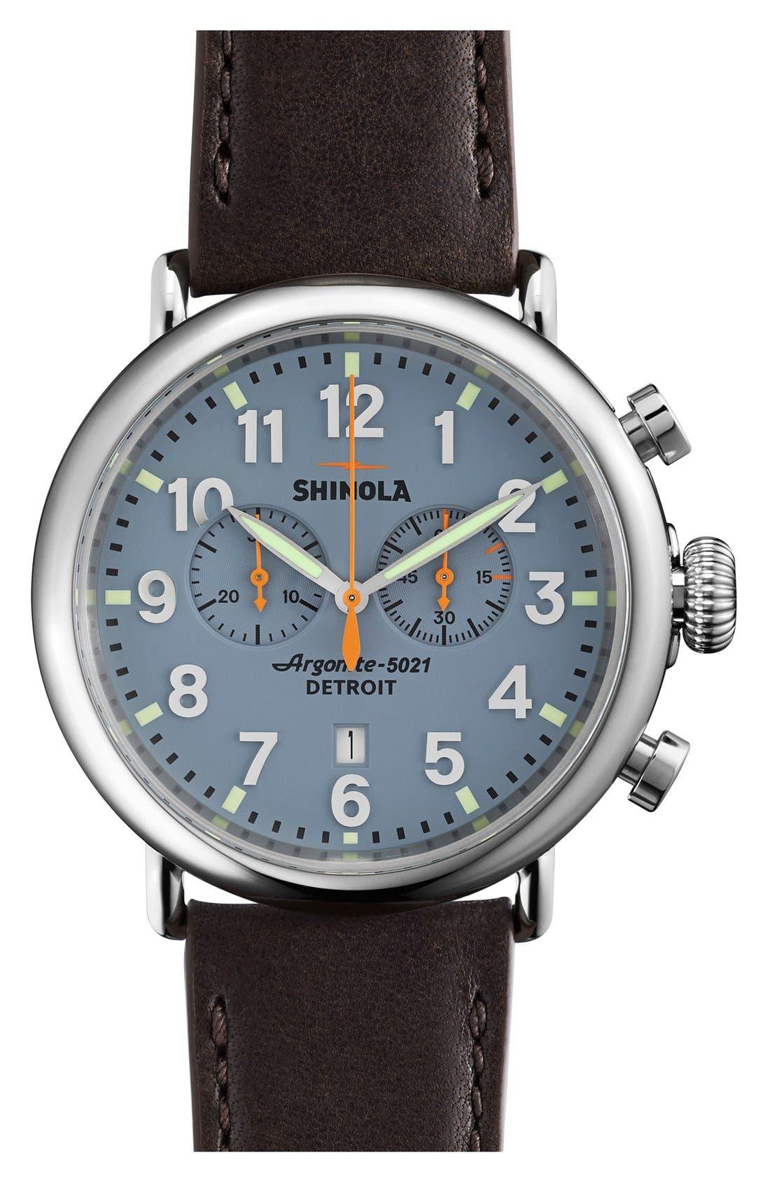 SHINOLA The Runwell Chrono Leather Strap Watch, 47mm, Main, color, SLATE BLUE/ TAN