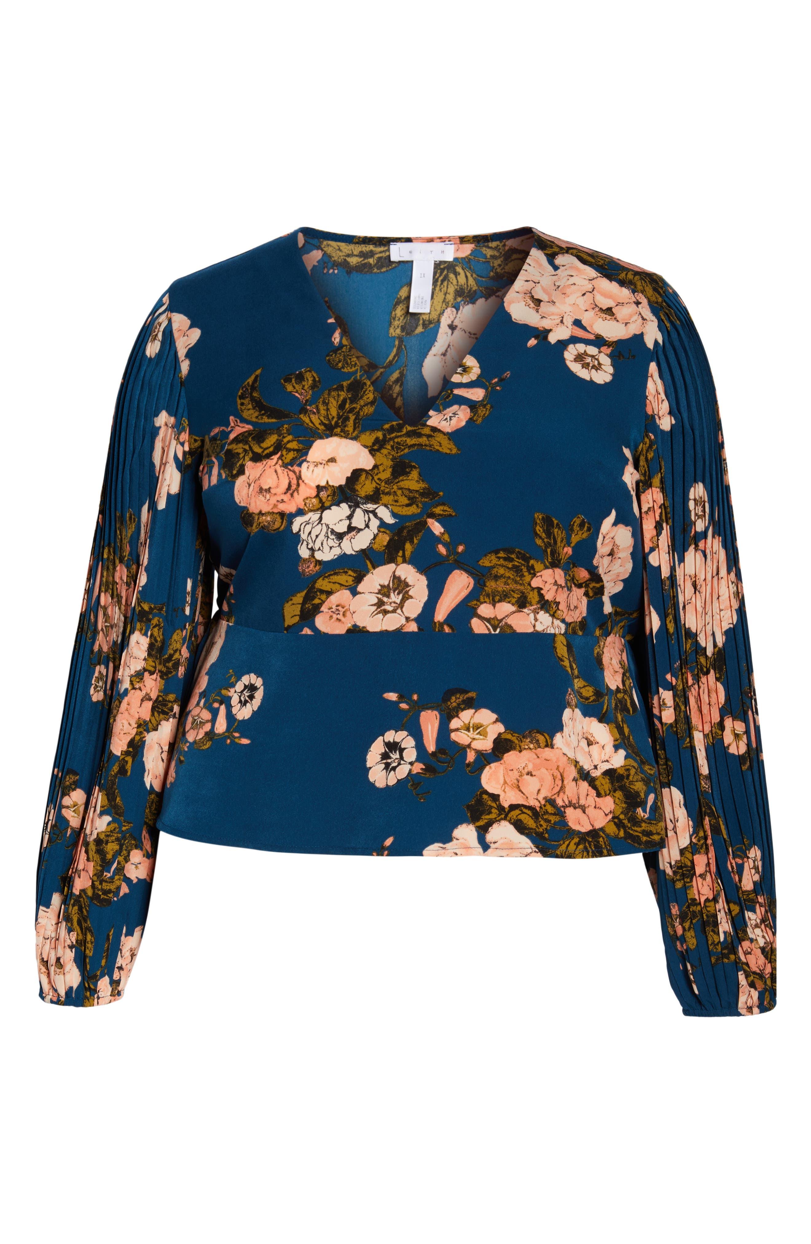 LEITH, Pleated Sleeve Blouse, Alternate thumbnail 6, color, 420