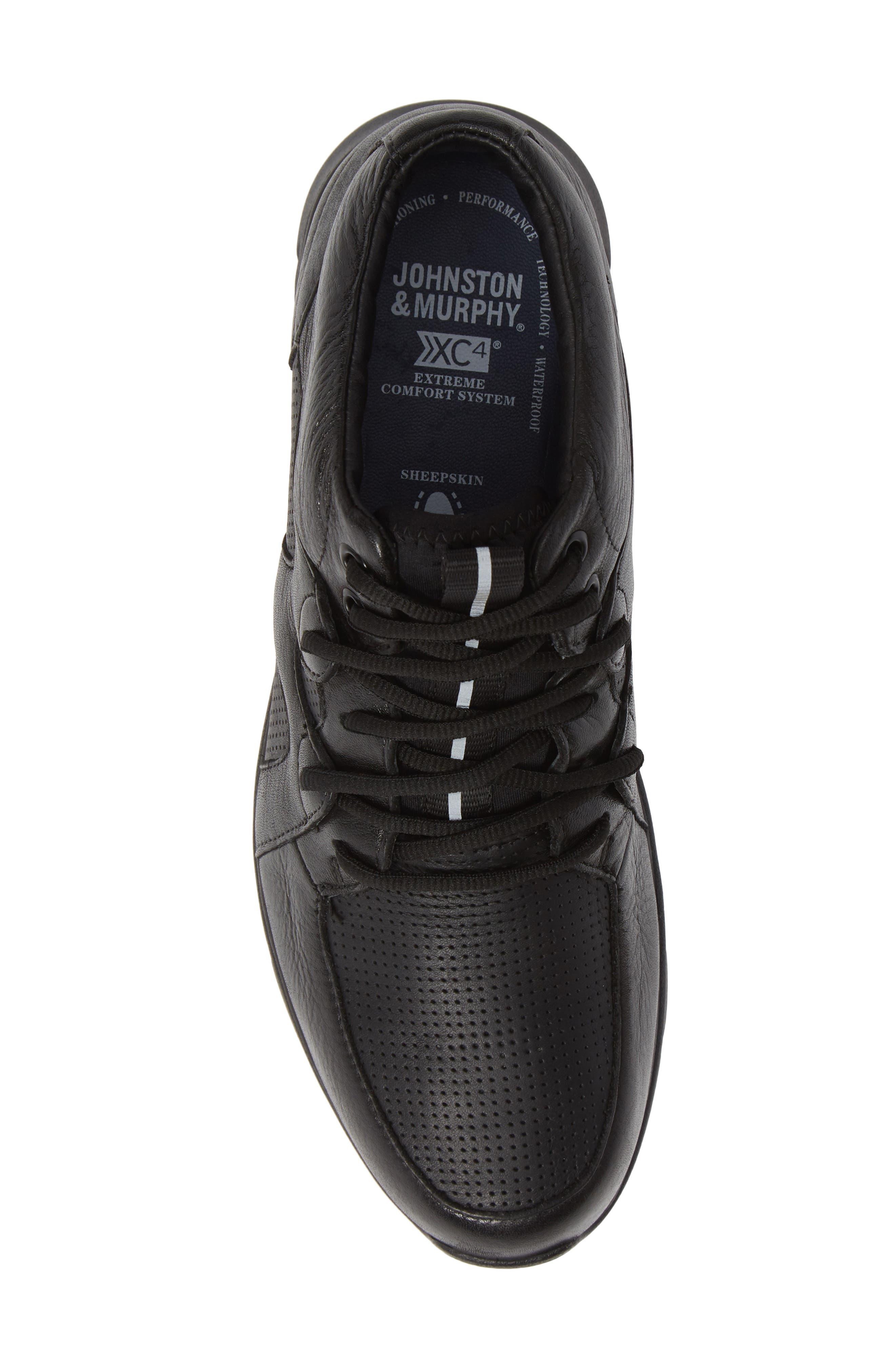 JOHNSTON & MURPHY, Prentiss Waterproof Sneaker, Alternate thumbnail 5, color, BLACK LEATHER
