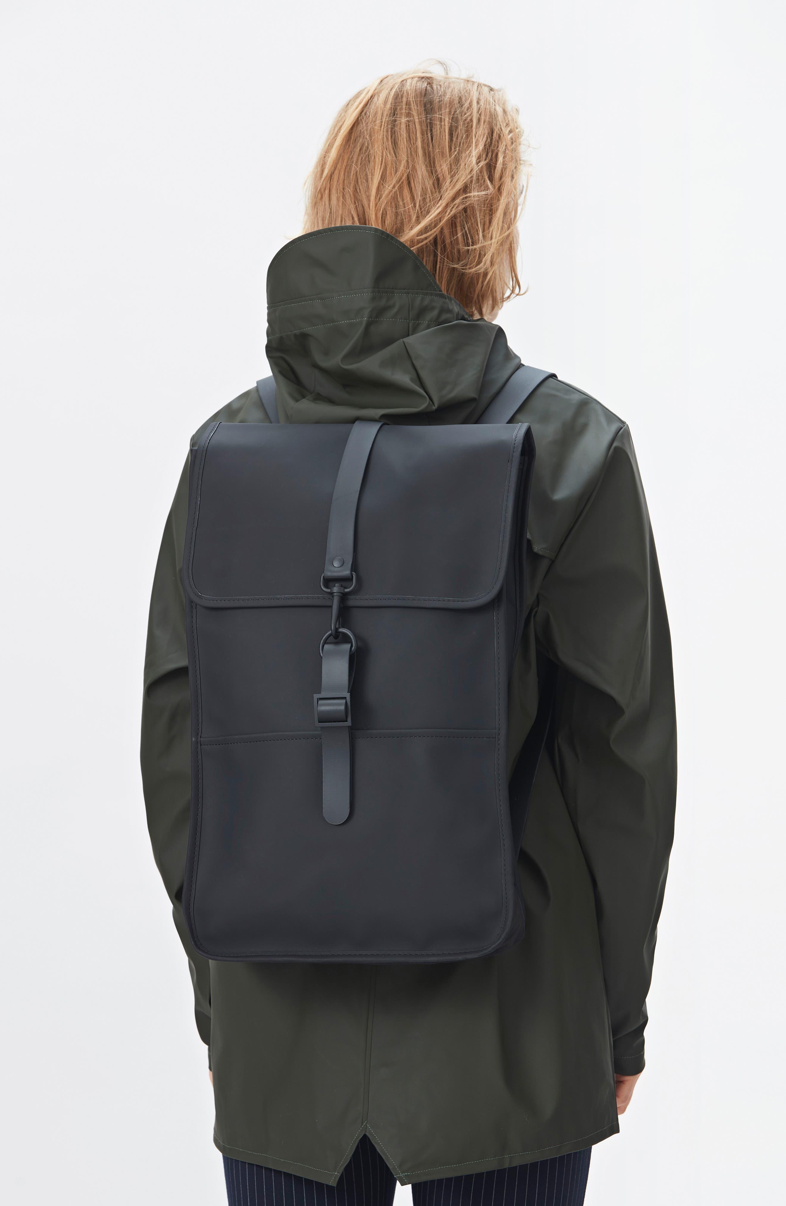 RAINS, Waterproof Backpack, Alternate thumbnail 5, color, BLACK