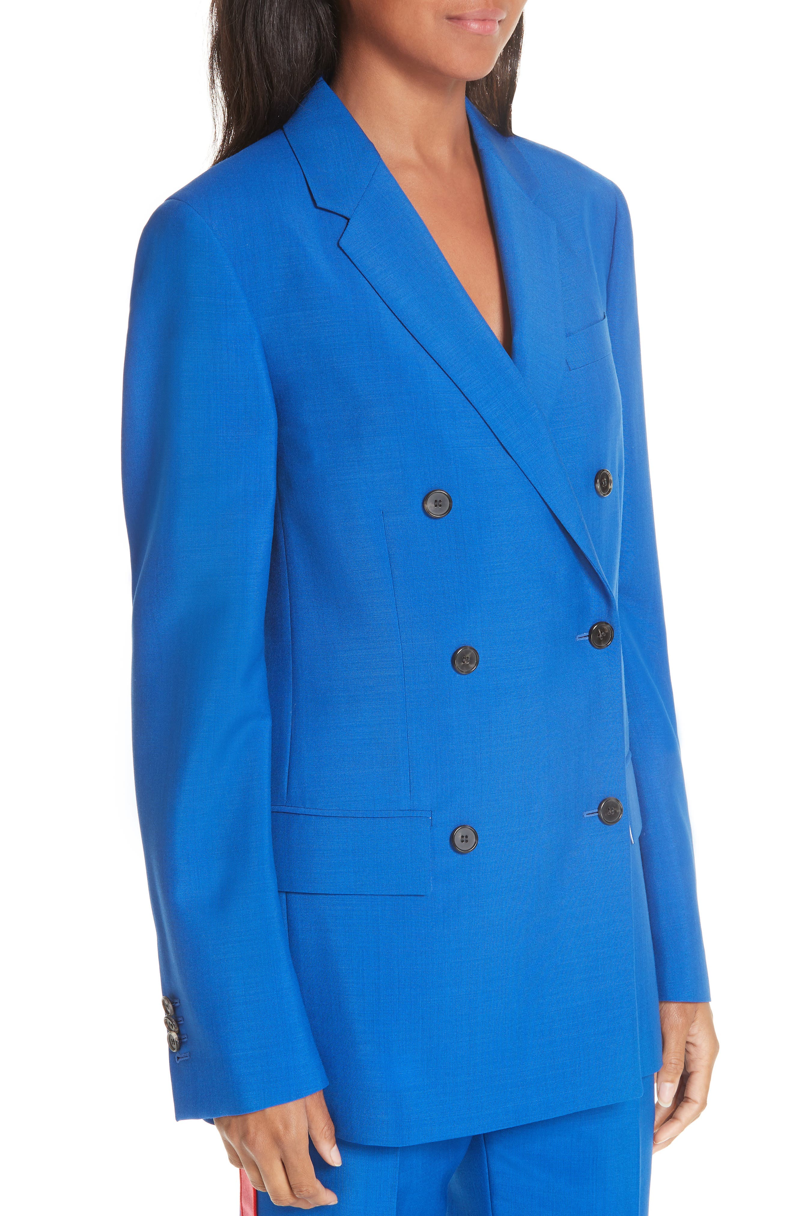 CALVIN KLEIN 205W39NYC, Mohair & Wool Double Breasted Blazer, Alternate thumbnail 4, color, BRIGHT BLUE