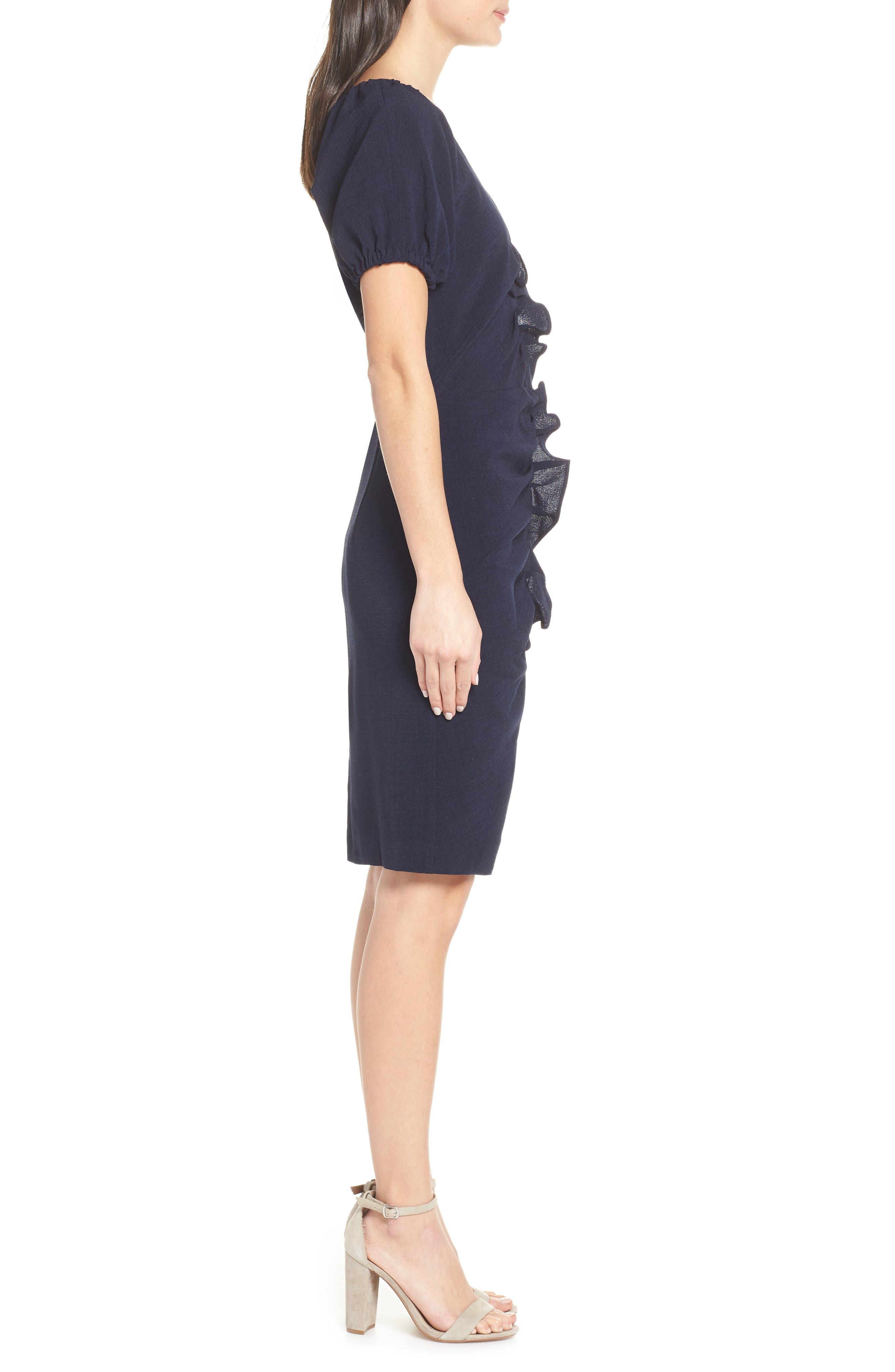 CHELSEA28, Ruffle Front Sheath Dress, Alternate thumbnail 4, color, 410