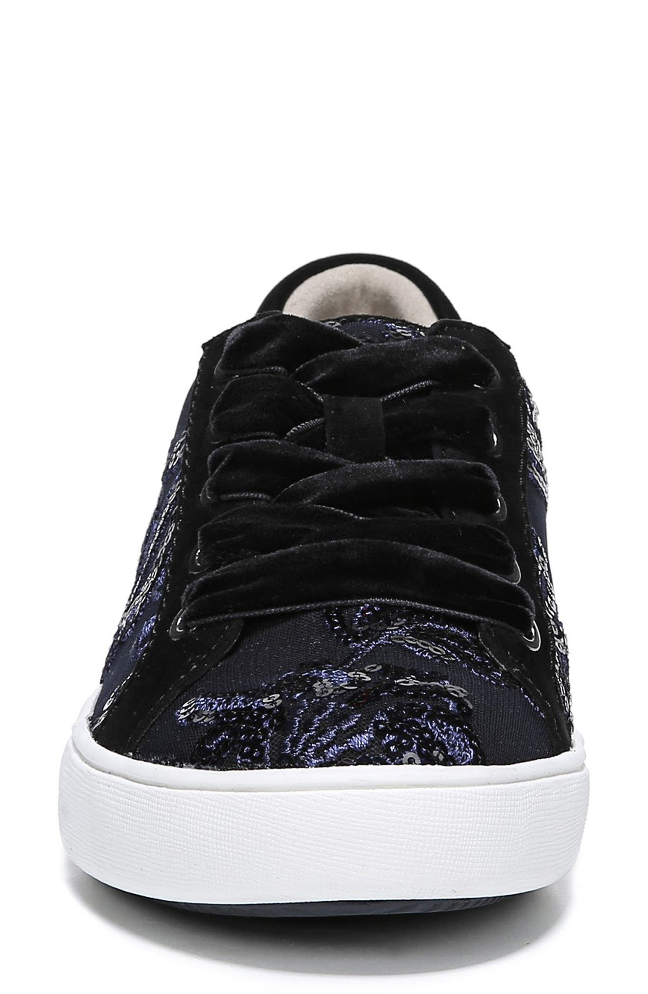 NATURALIZER, Morrison Sneaker, Alternate thumbnail 4, color, NAVY EMBROIDERED LACE