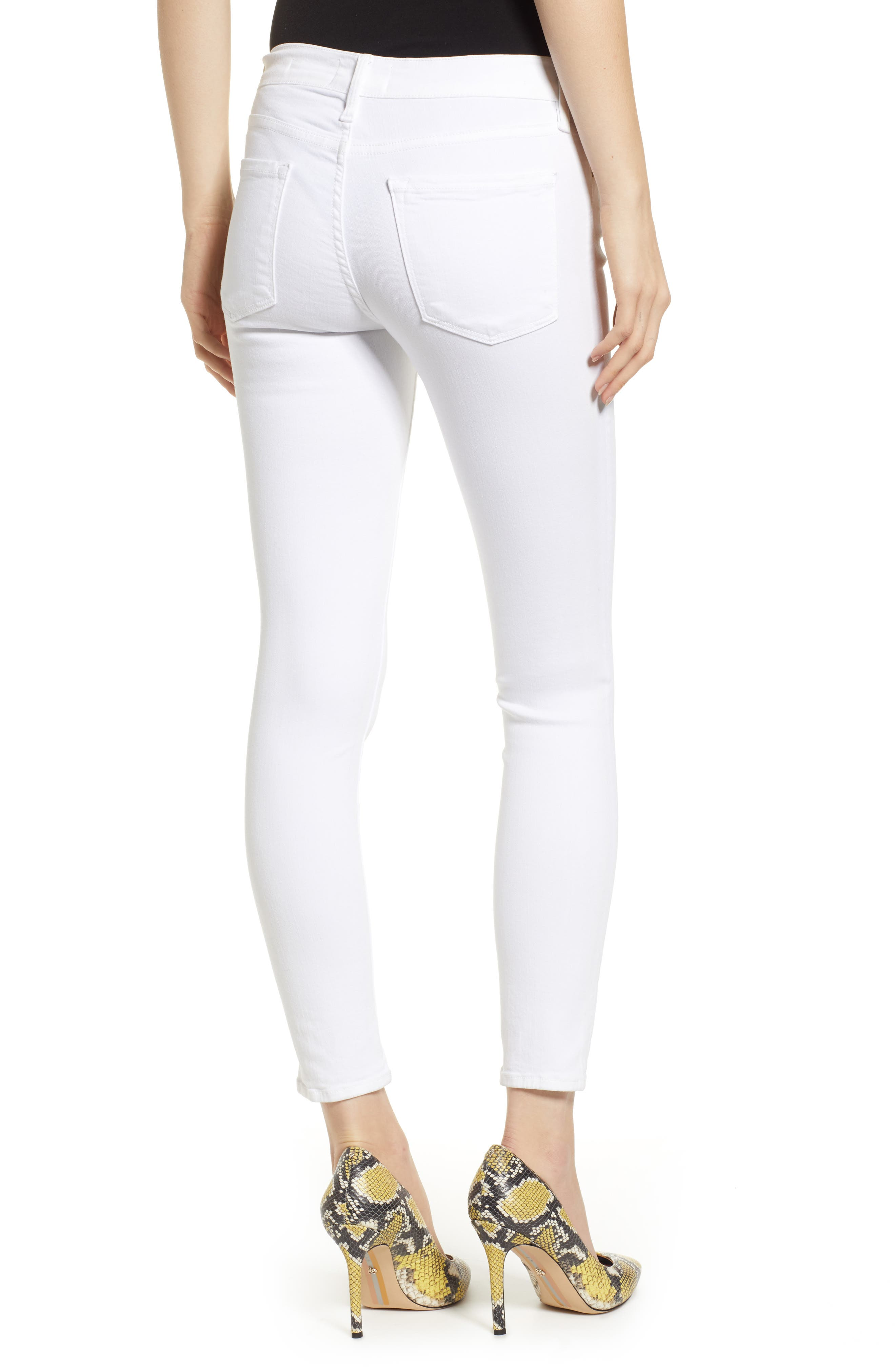 FRAME, Le Color Crop Skinny Jeans, Alternate thumbnail 2, color, BLANC