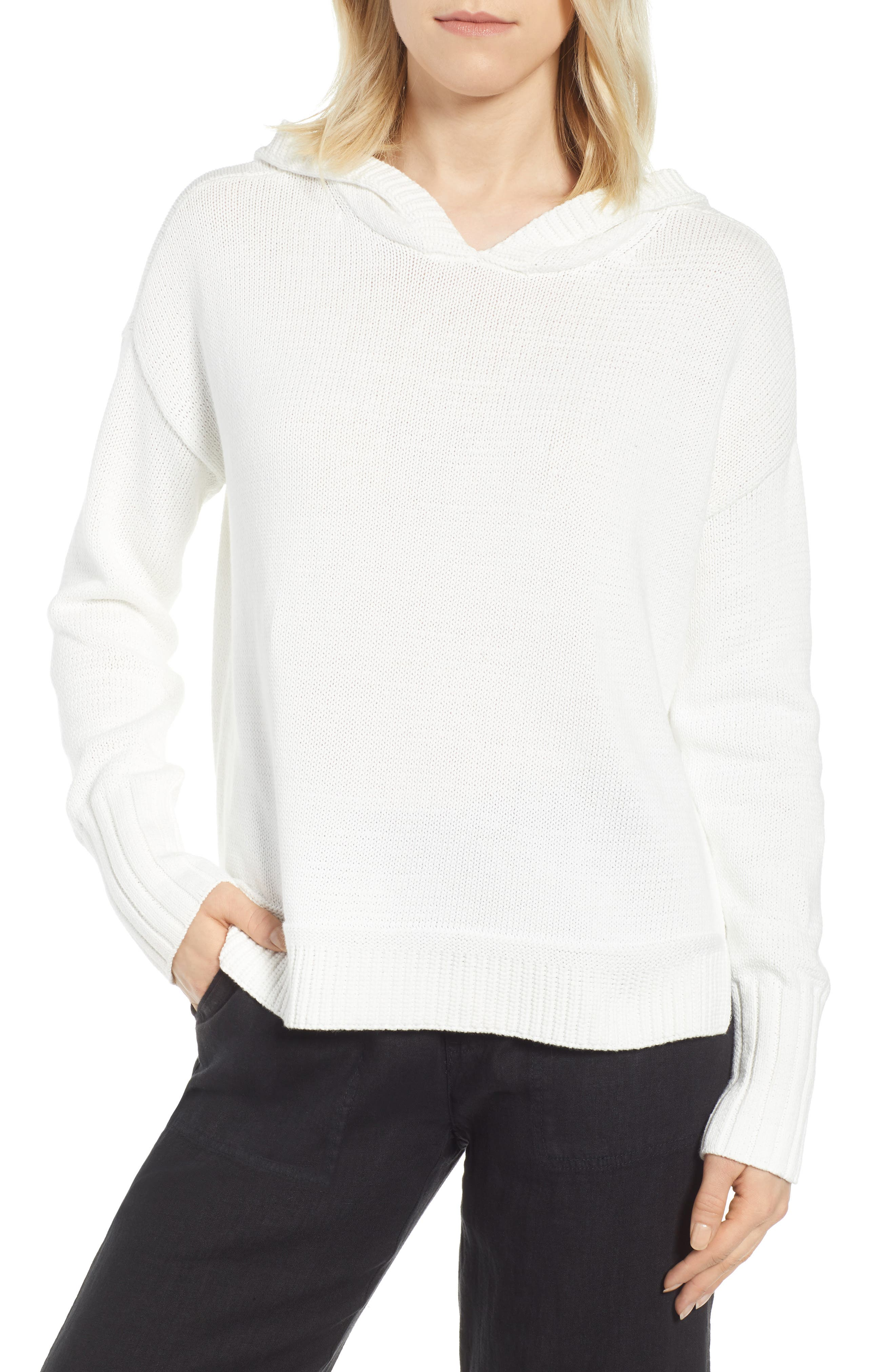 CASLON<SUP>®</SUP> Off-Duty Hooded Sweater, Main, color, WHITE