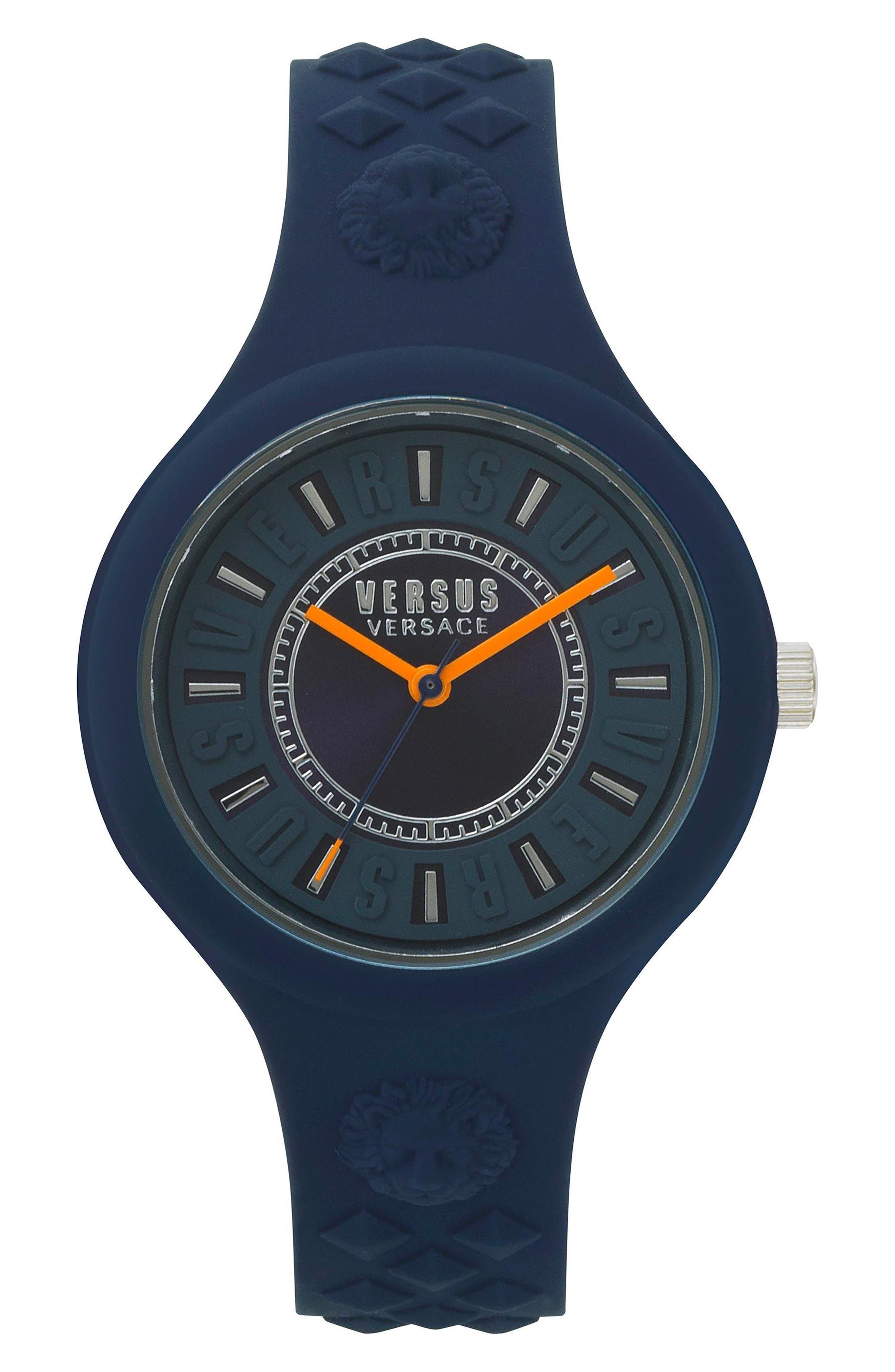 VERSUS VERSACE Fire Island Silicone Strap Watch, 39mm, Main, color, GREY/ ORANGE