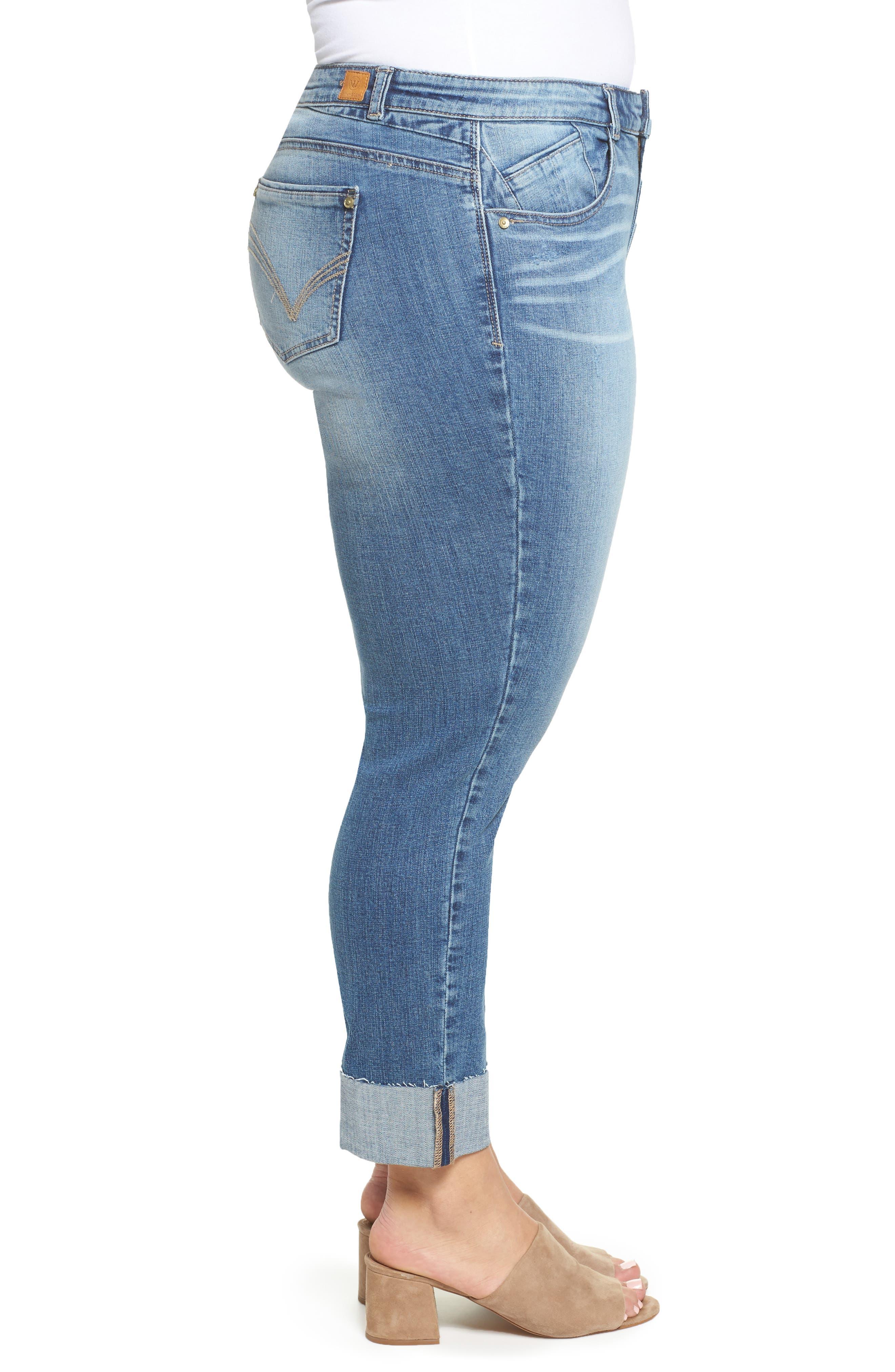 WIT & WISDOM, Flex-ellent Boyfriend Jeans, Alternate thumbnail 4, color, BLUE
