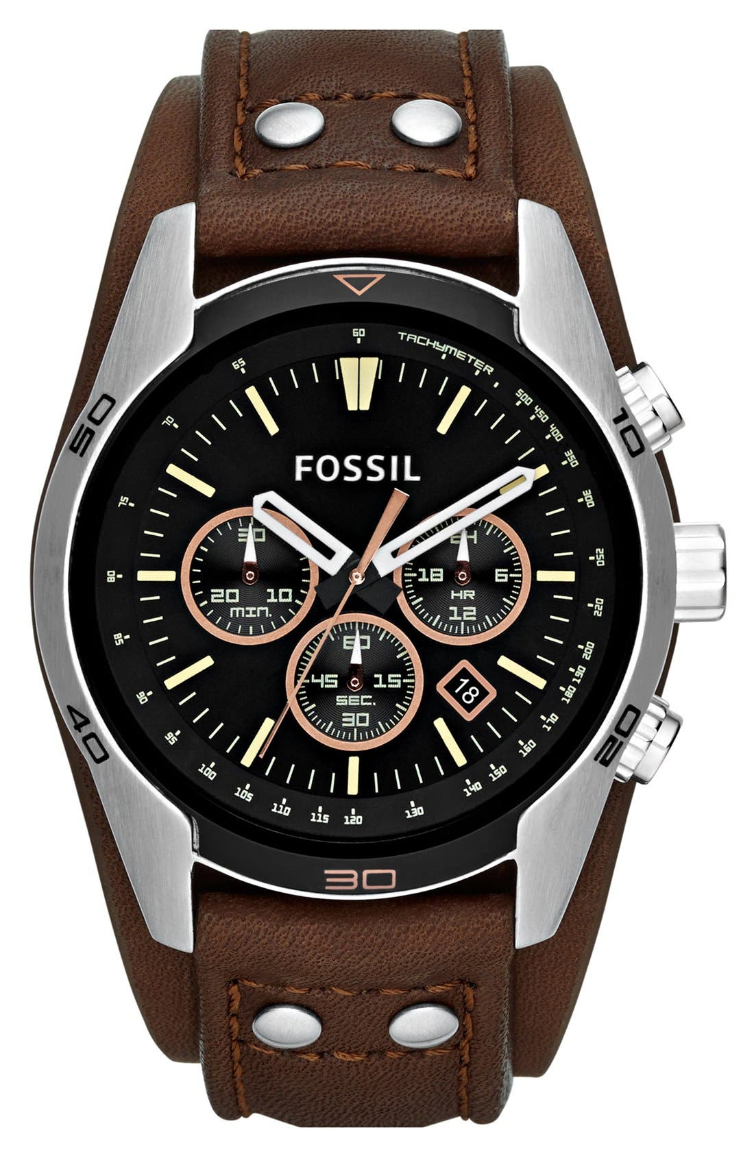 FOSSIL, 'Sport' Chronograph Leather Cuff Watch, 44mm, Main thumbnail 1, color, BROWN
