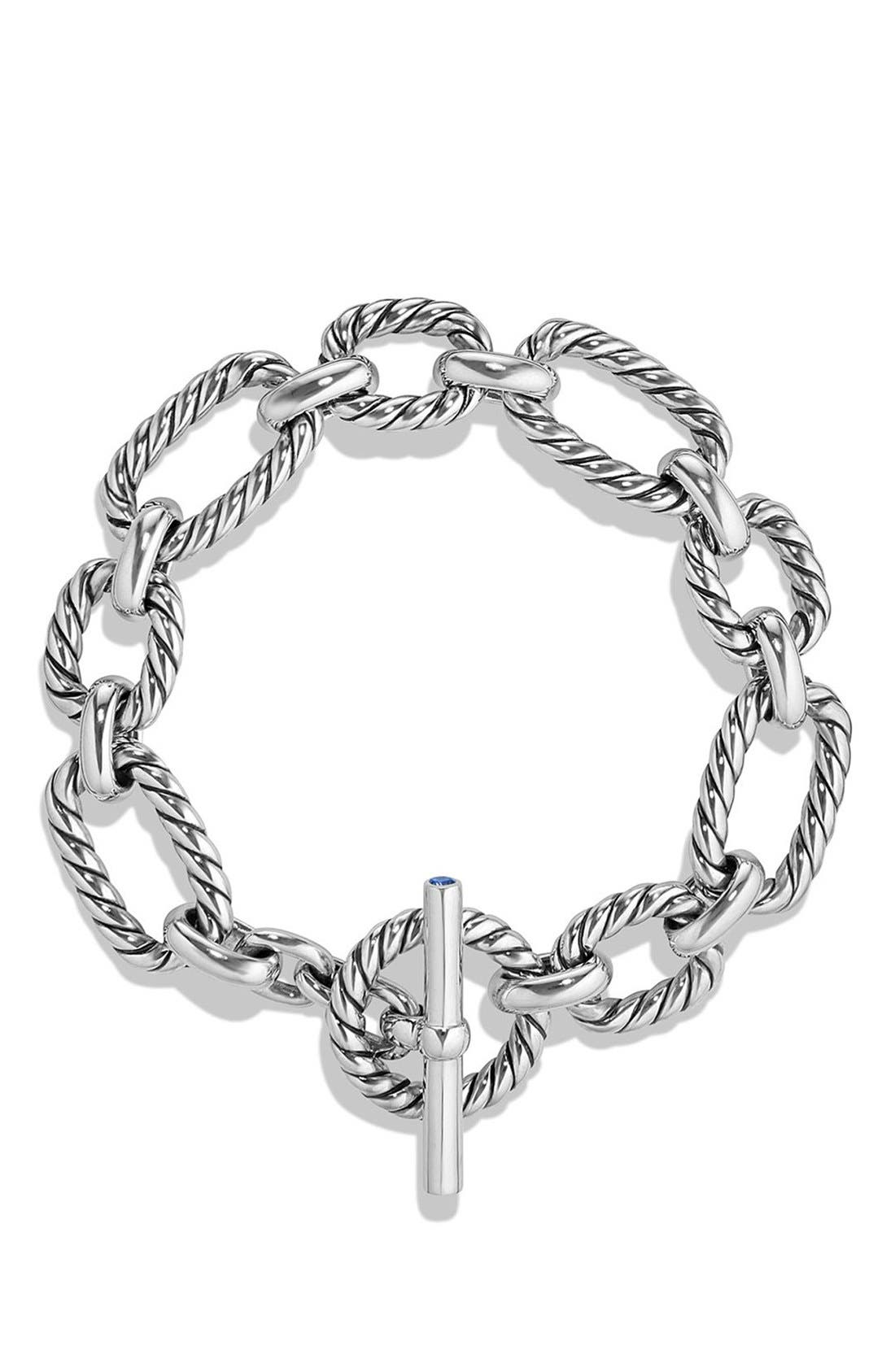 DAVID YURMAN, 'Chain' Cushion Link Bracelet with Blue Sapphires, Alternate thumbnail 3, color, SILVER/ BLUE SAPPHIRE