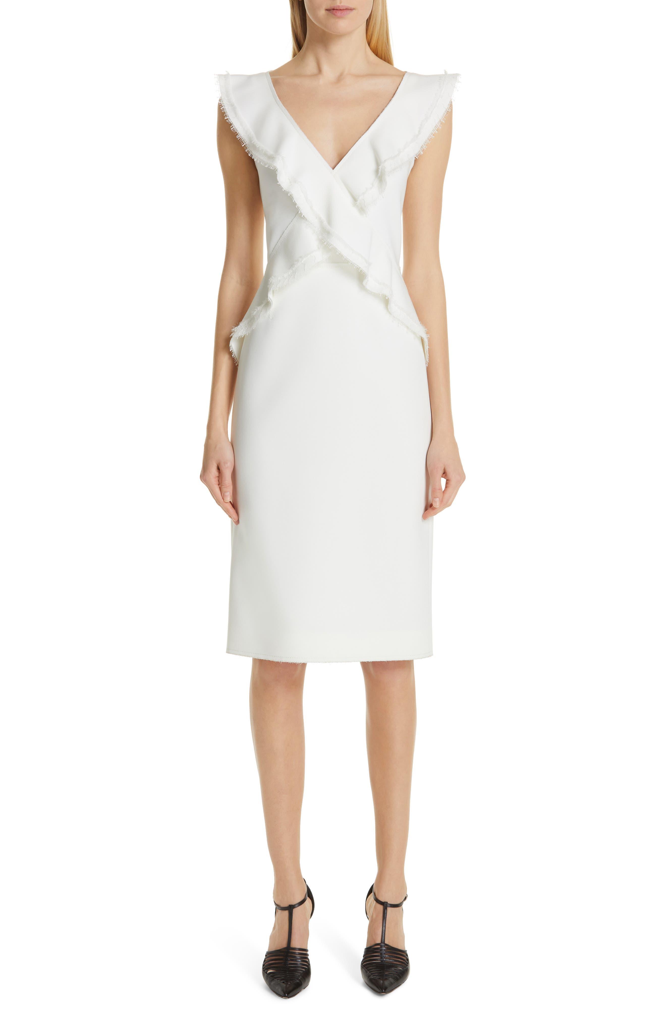 Jason Wu Collection Ruffle Compact Crepe Dress, White