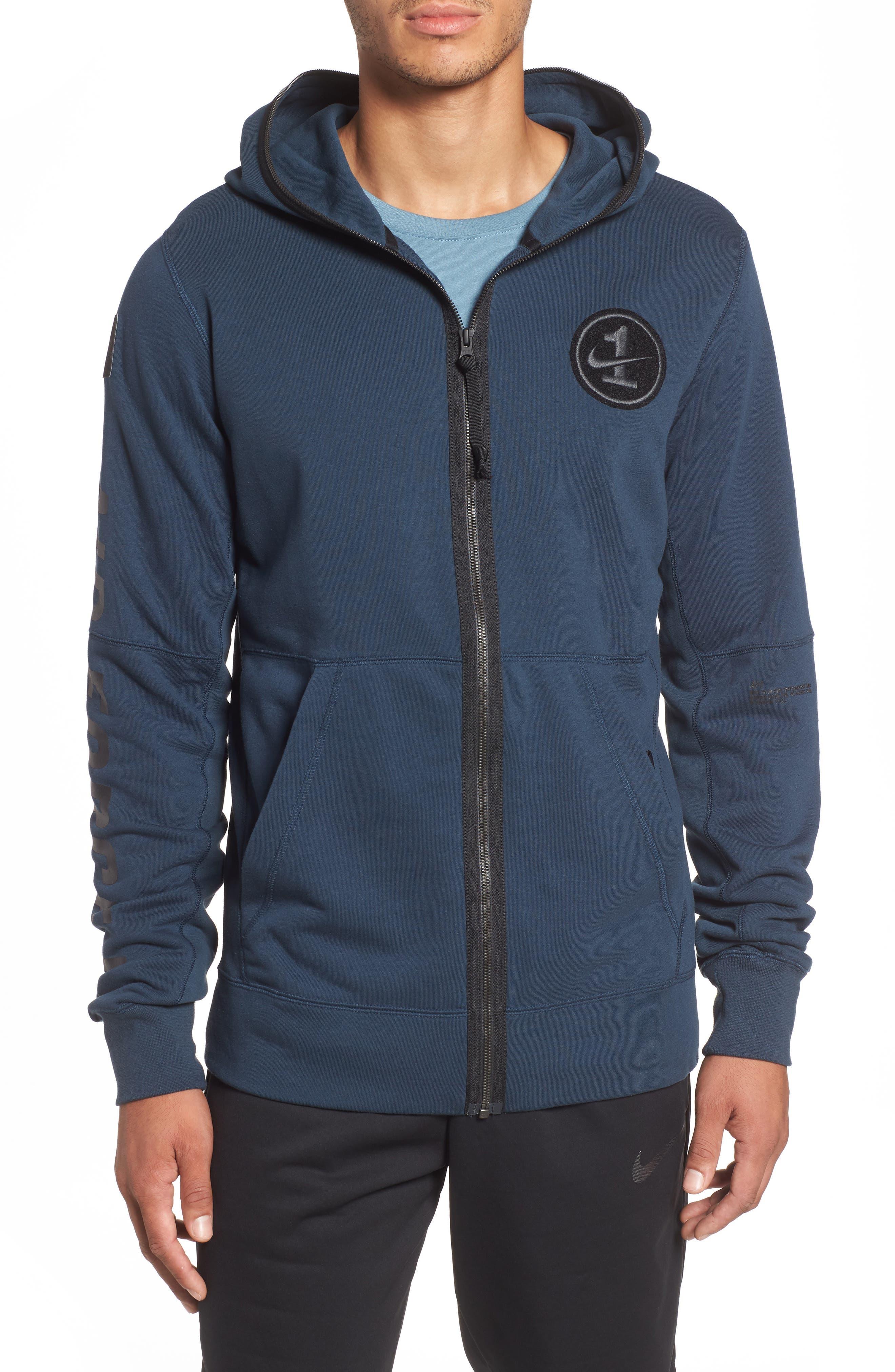 NIKE, Air Force One Zip Hoodie Jacket, Main thumbnail 1, color, ARMORY NAVY/ BLACK