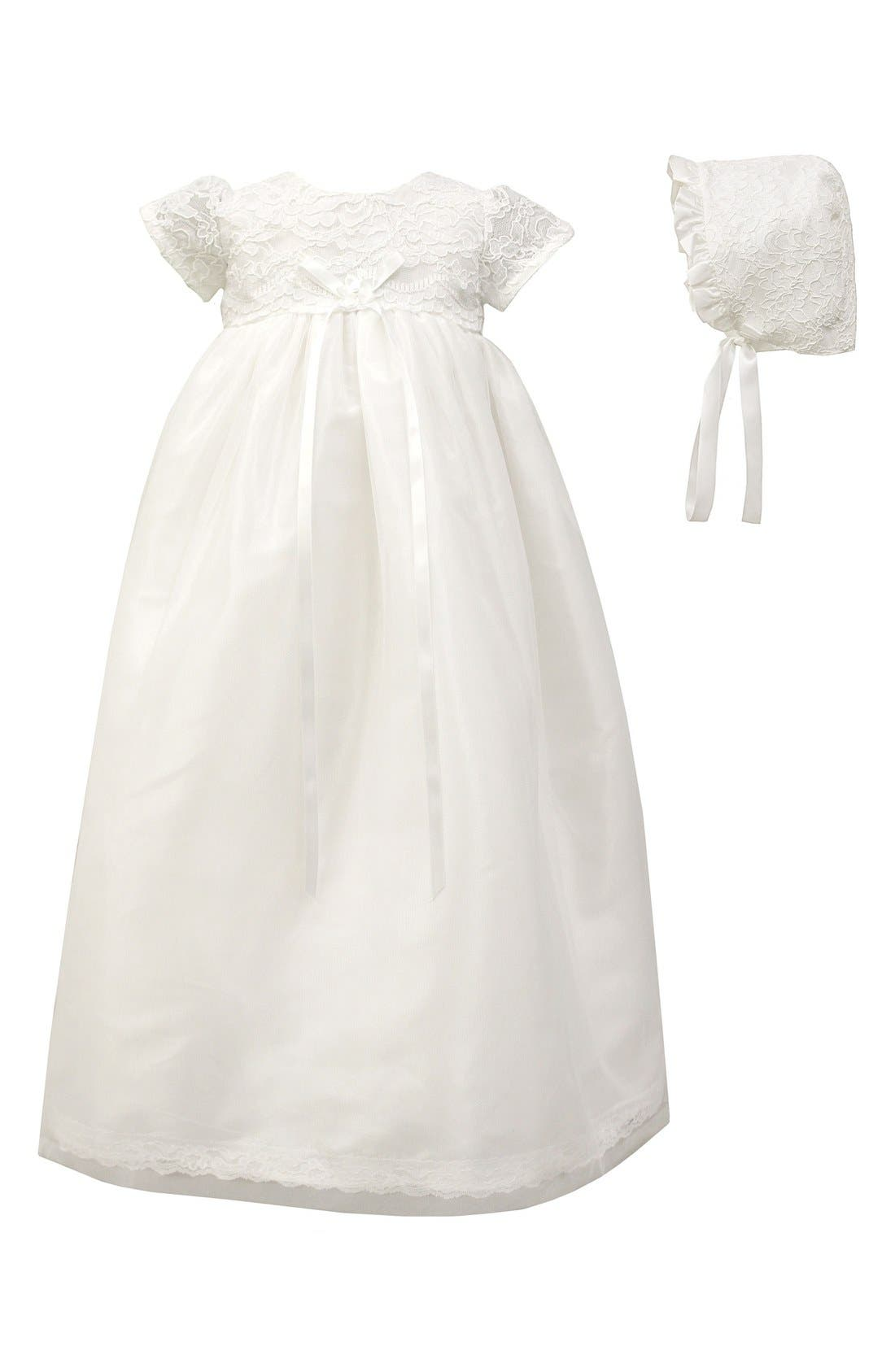 C.I. CASTRO & CO., Scalloped Lace Christening Gown & Bonnet Set, Main thumbnail 1, color, WHITE