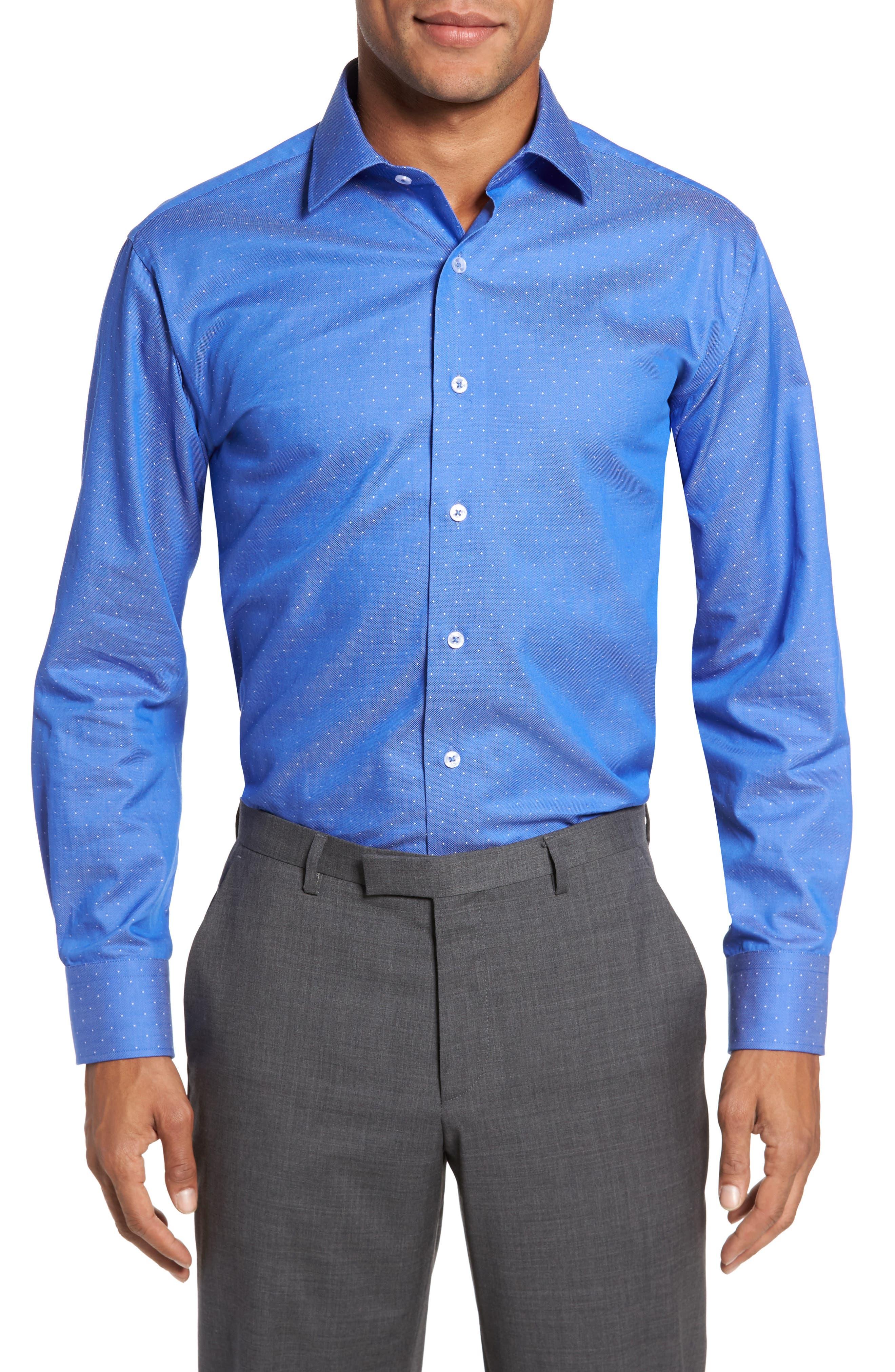 LORENZO UOMO, Trim Fit Dot Dress Shirt, Main thumbnail 1, color, ROYAL