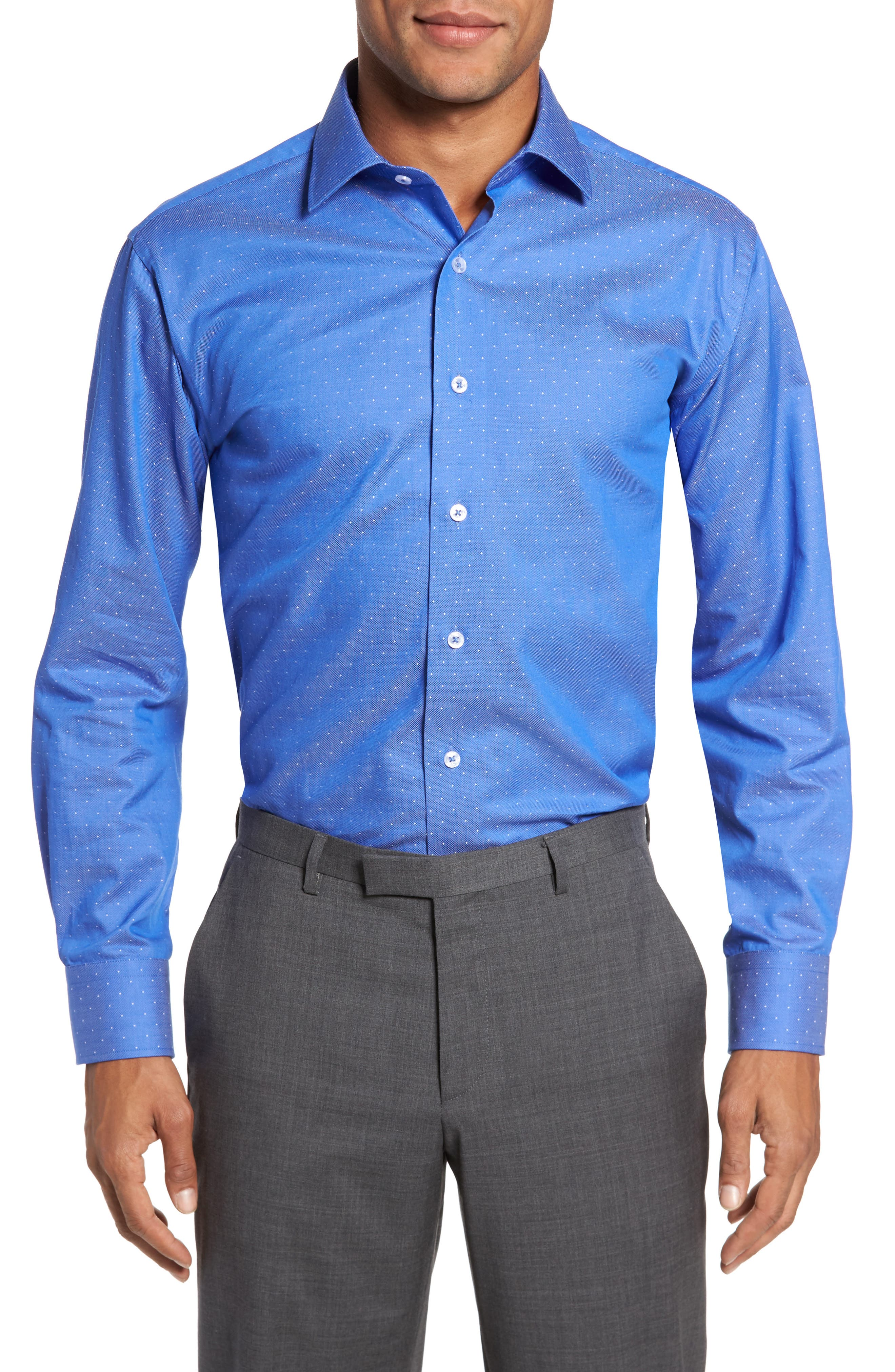 LORENZO UOMO Trim Fit Dot Dress Shirt, Main, color, ROYAL