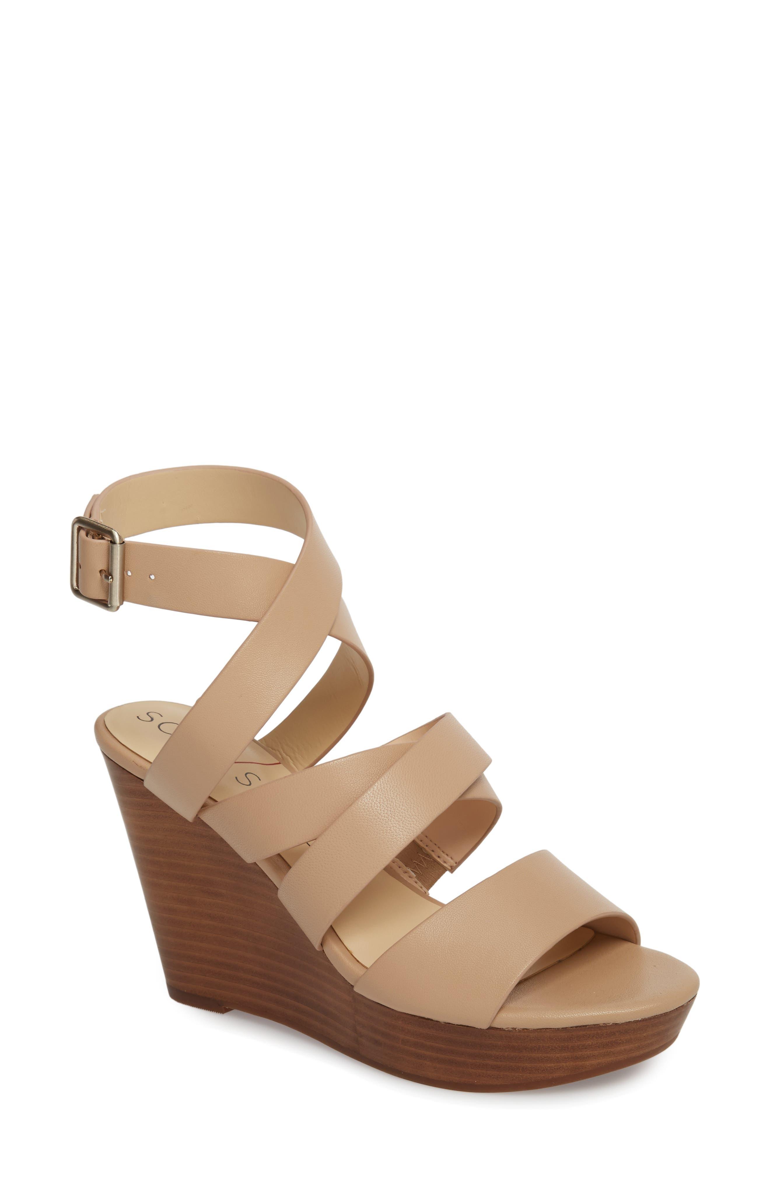 SOLE SOCIETY, Pippy Platform Sandal, Main thumbnail 1, color, TAN