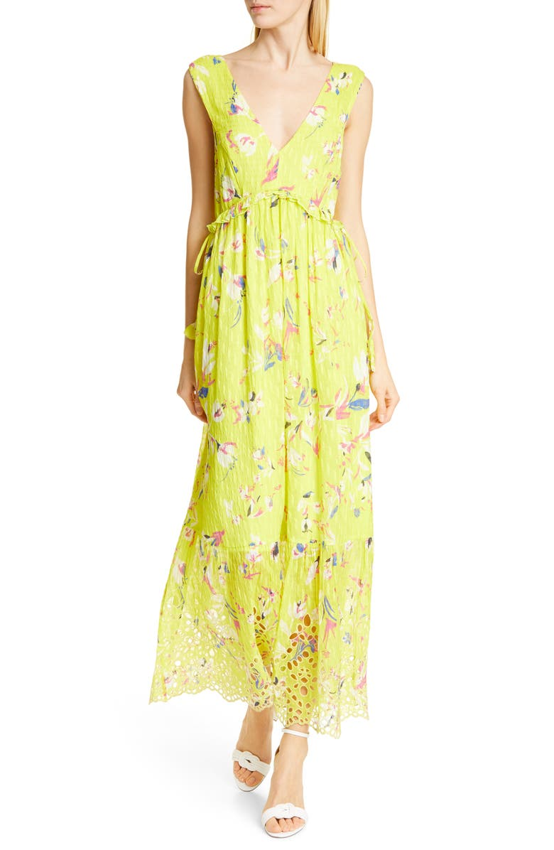 Tanya Taylor Dresses CATALINA FLORAL SILK & COTTON MAXI DRESS