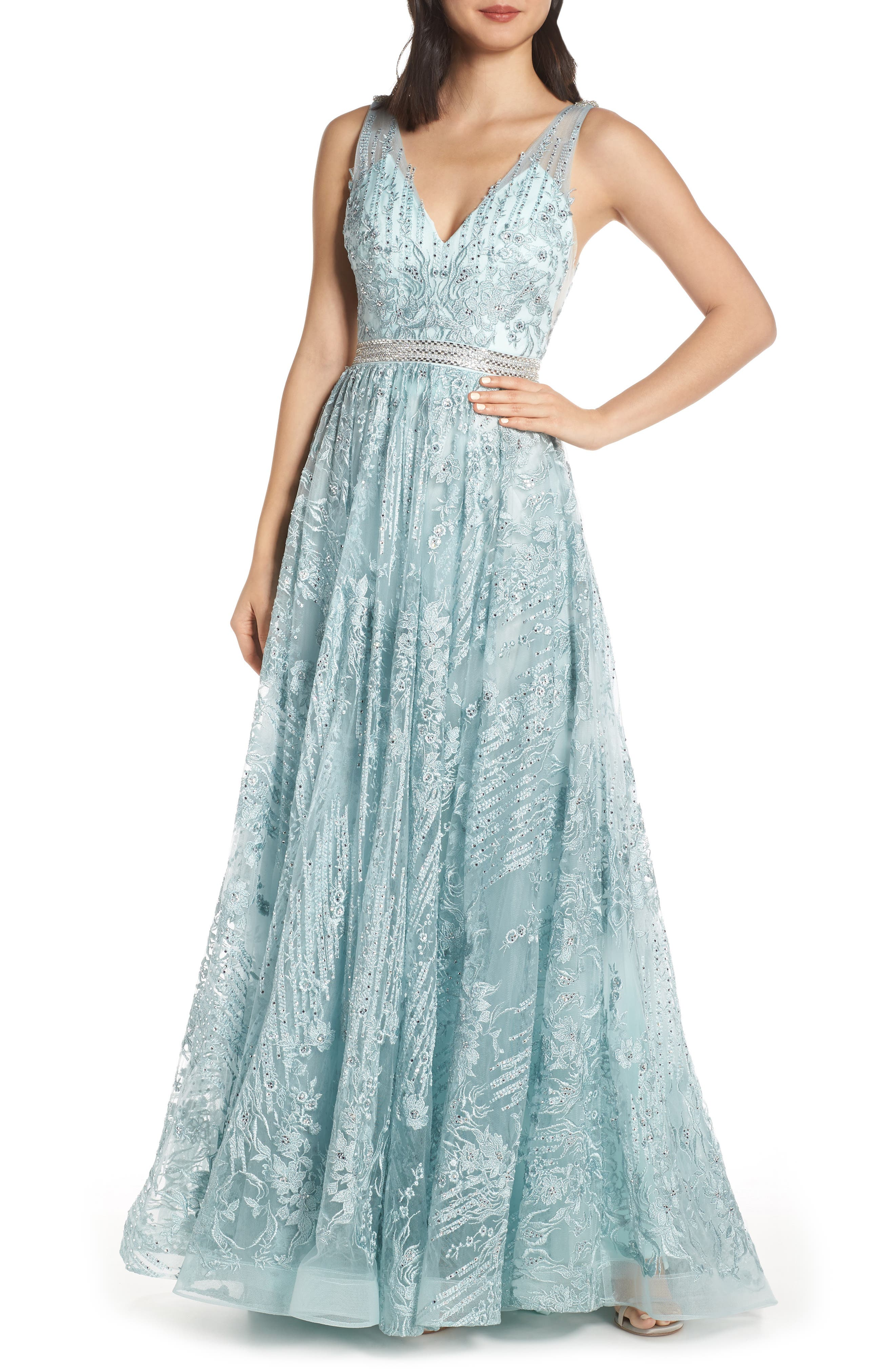 MAC DUGGAL, Beaded & Embroidered Chiffon Evening Dress, Main thumbnail 1, color, SEAMIST