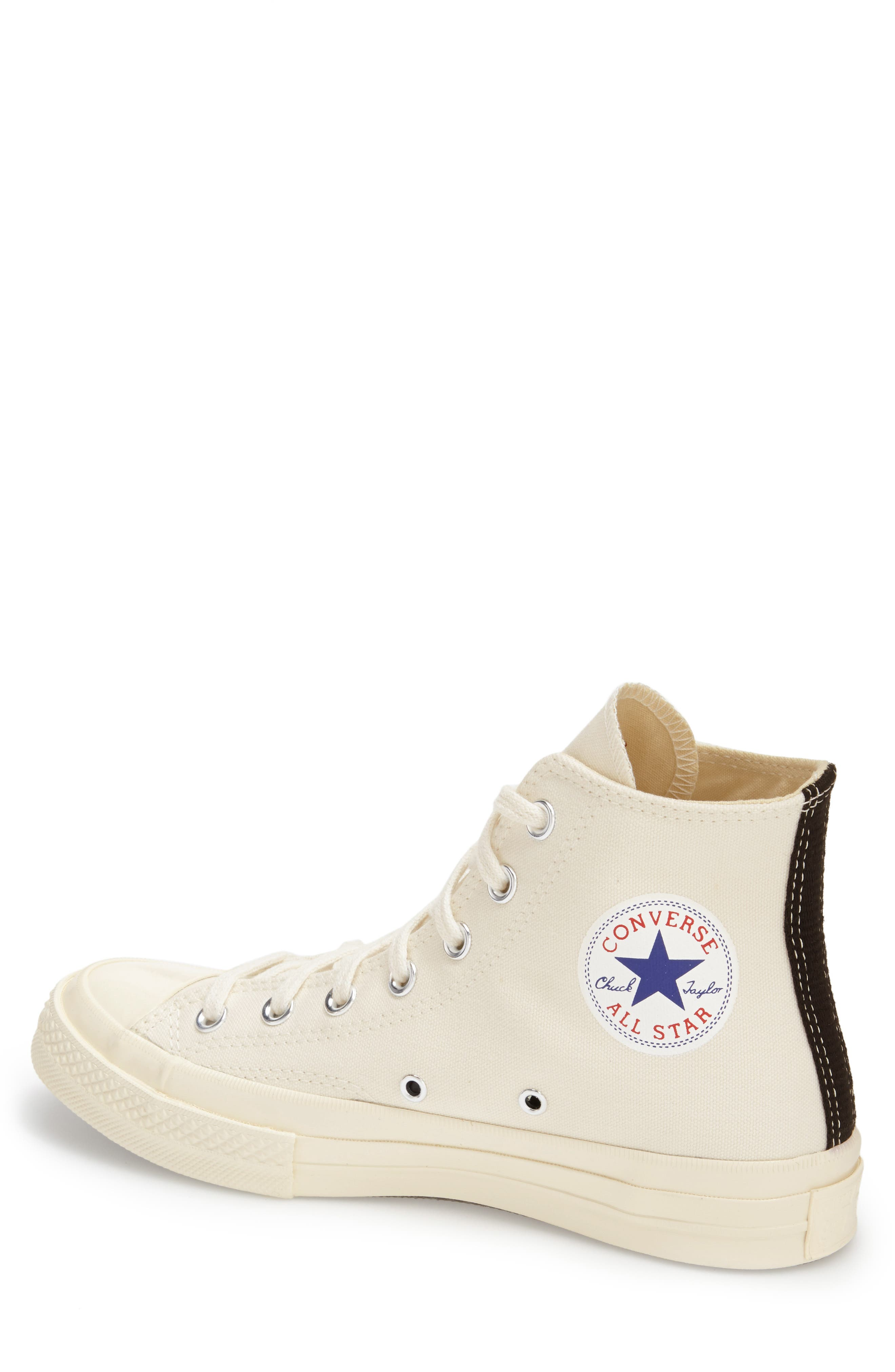 COMME DES GARÇONS PLAY, x Converse Chuck Taylor<sup>®</sup> Hidden Heart High Top Sneaker, Alternate thumbnail 2, color, BEIGE