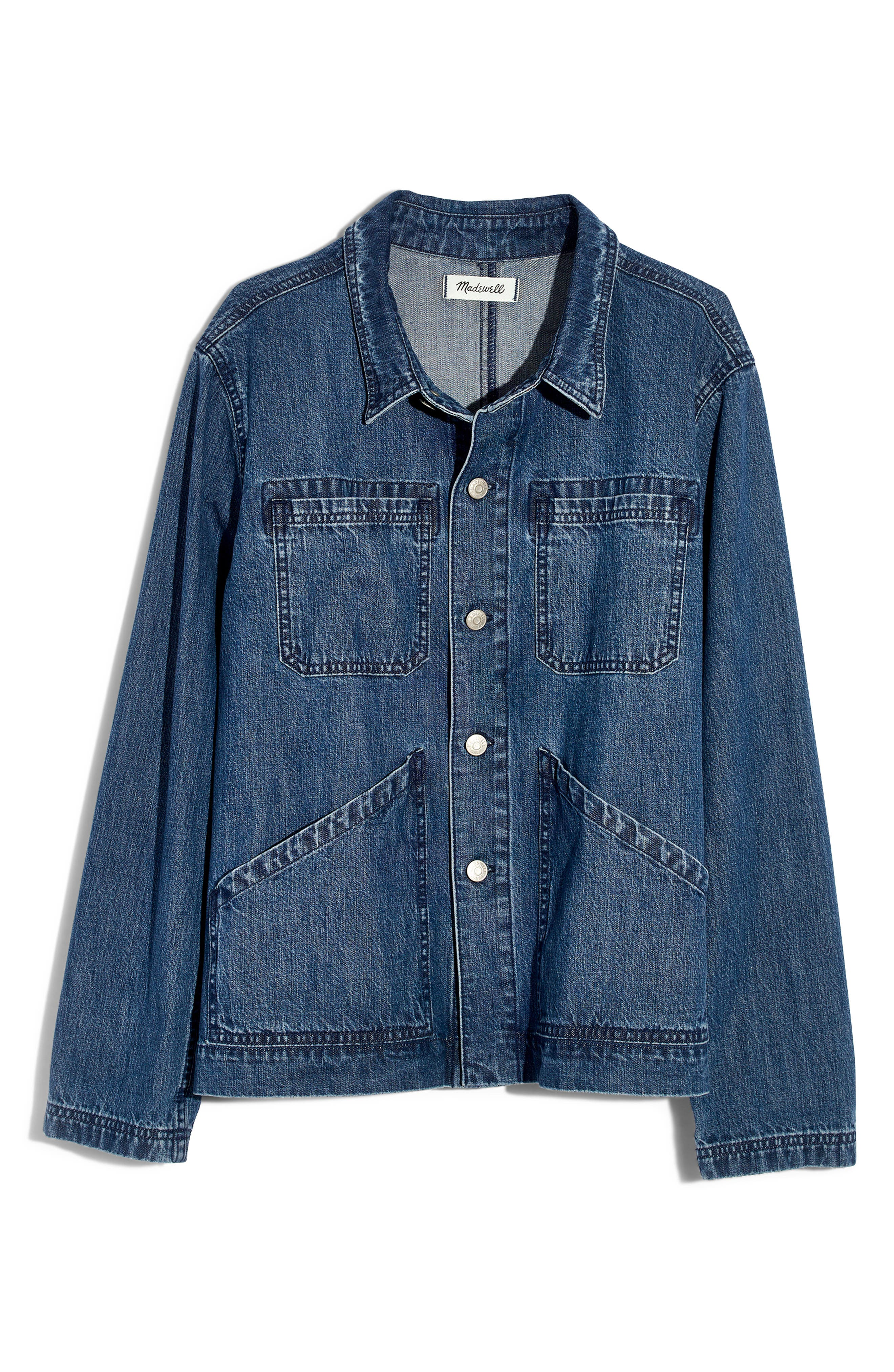 MADEWELL, Denim Patch Pocket Chore Coat, Alternate thumbnail 6, color, 400