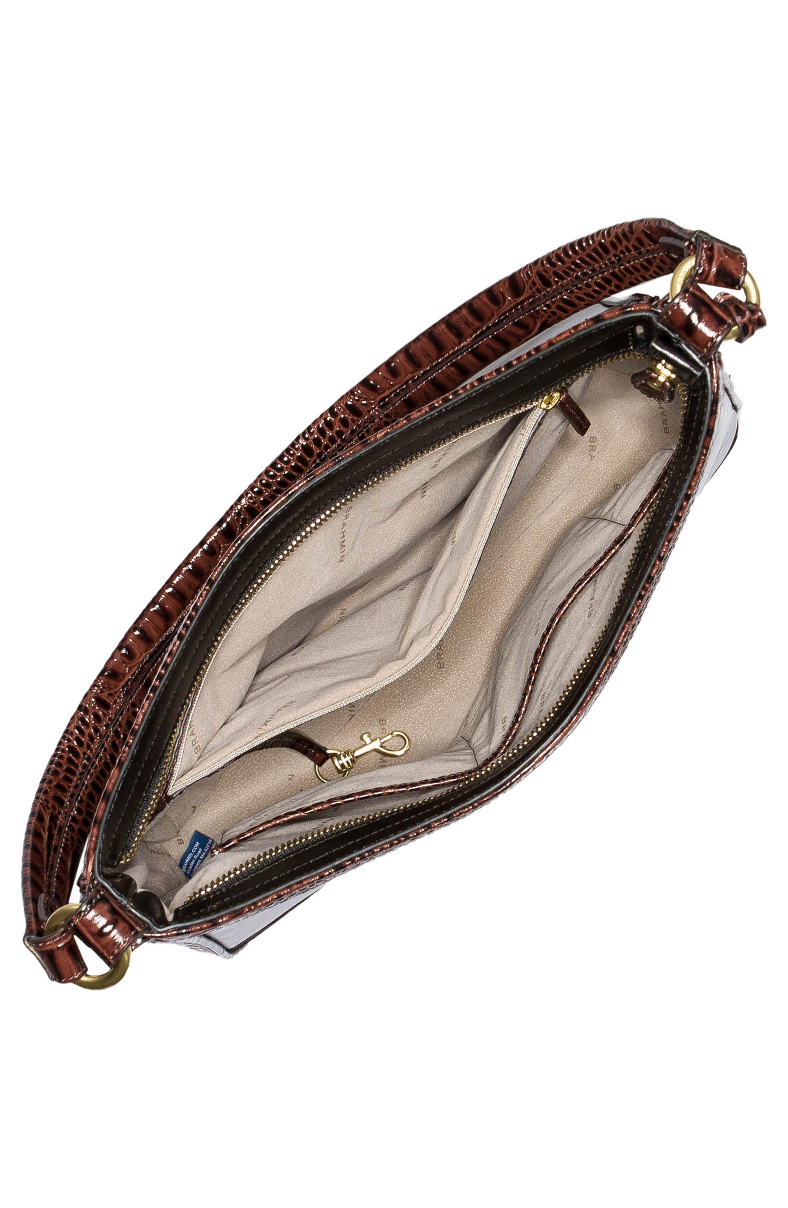 BRAHMIN, Noelle Leather Hobo Bag, Alternate thumbnail 4, color, 001