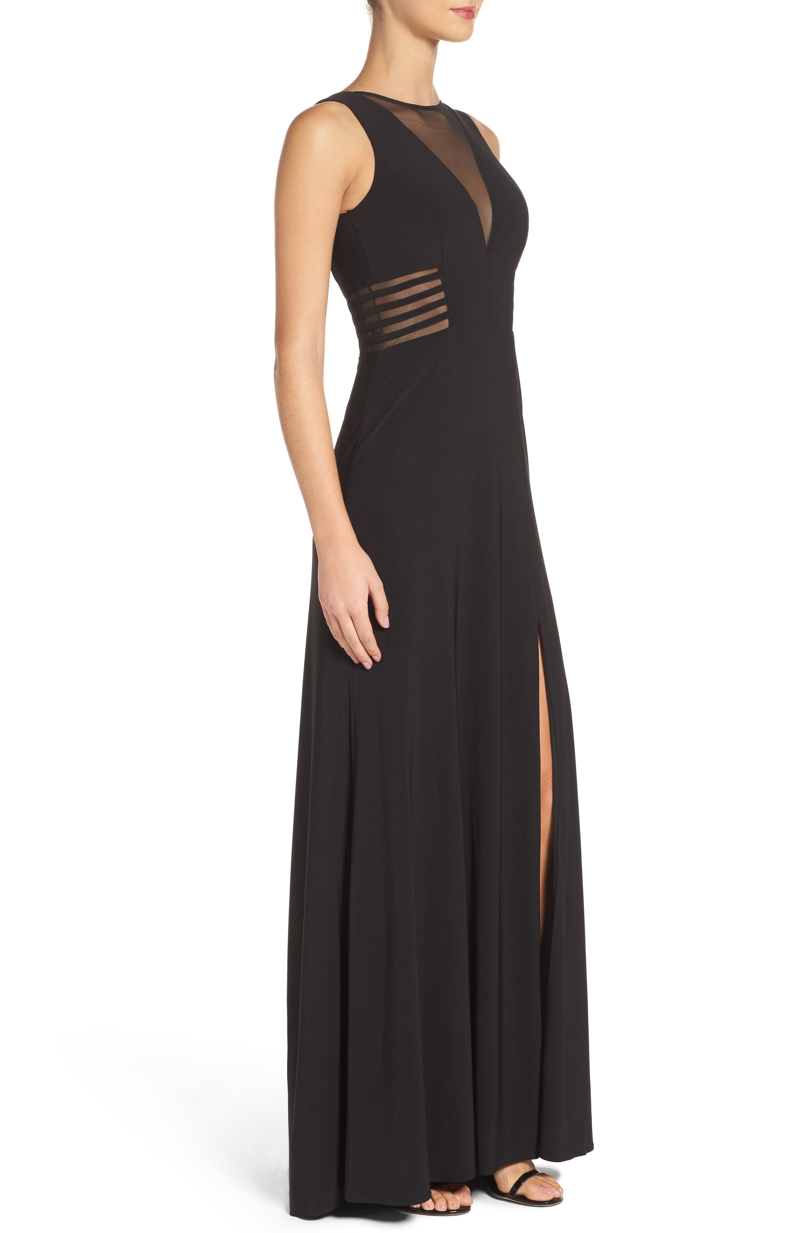 MORGAN & CO., Illusion Gown, Alternate thumbnail 3, color, BLACK