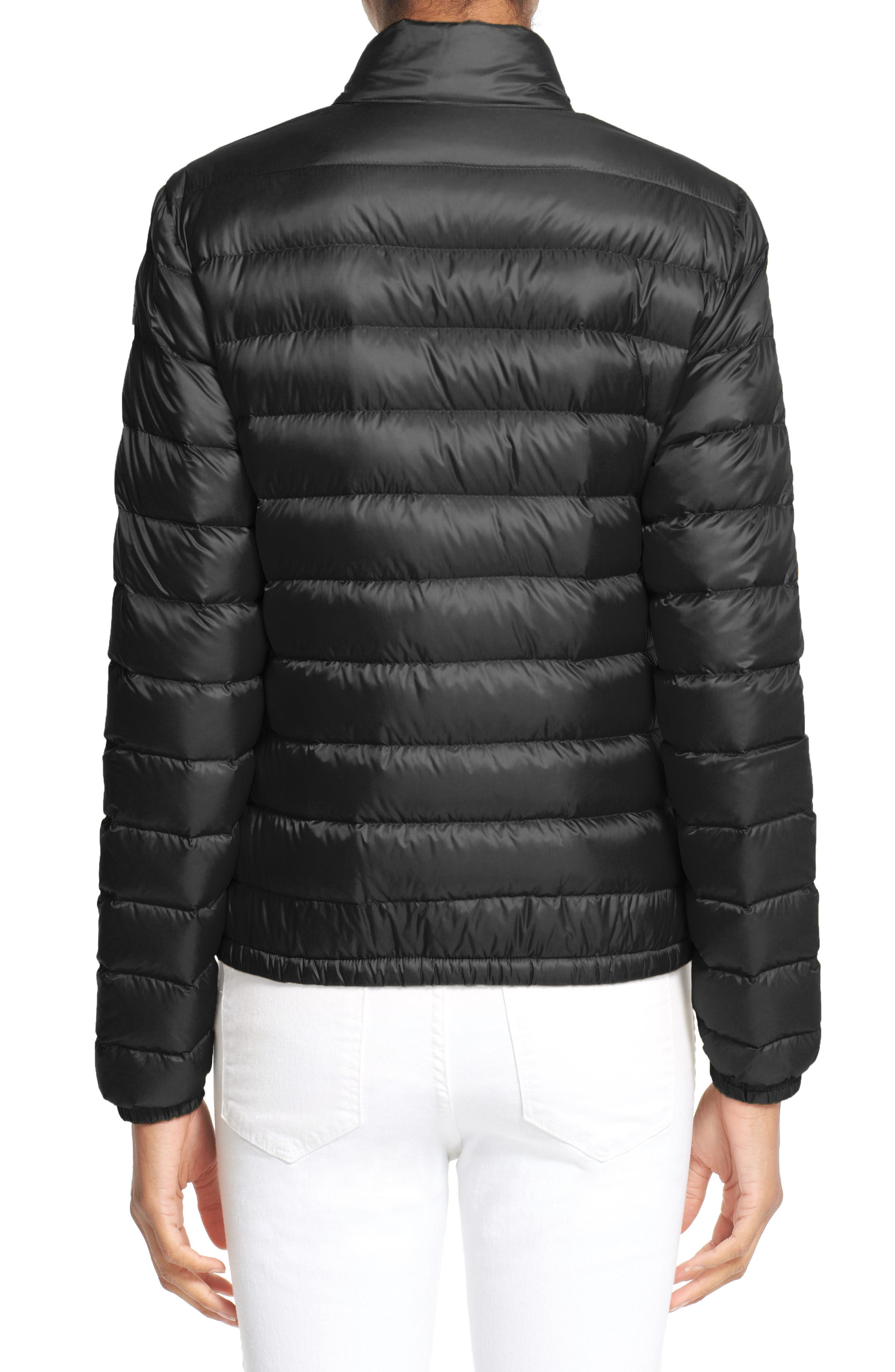 MONCLER, 'Lans' Water Resistant Short Down Jacket, Alternate thumbnail 2, color, 001