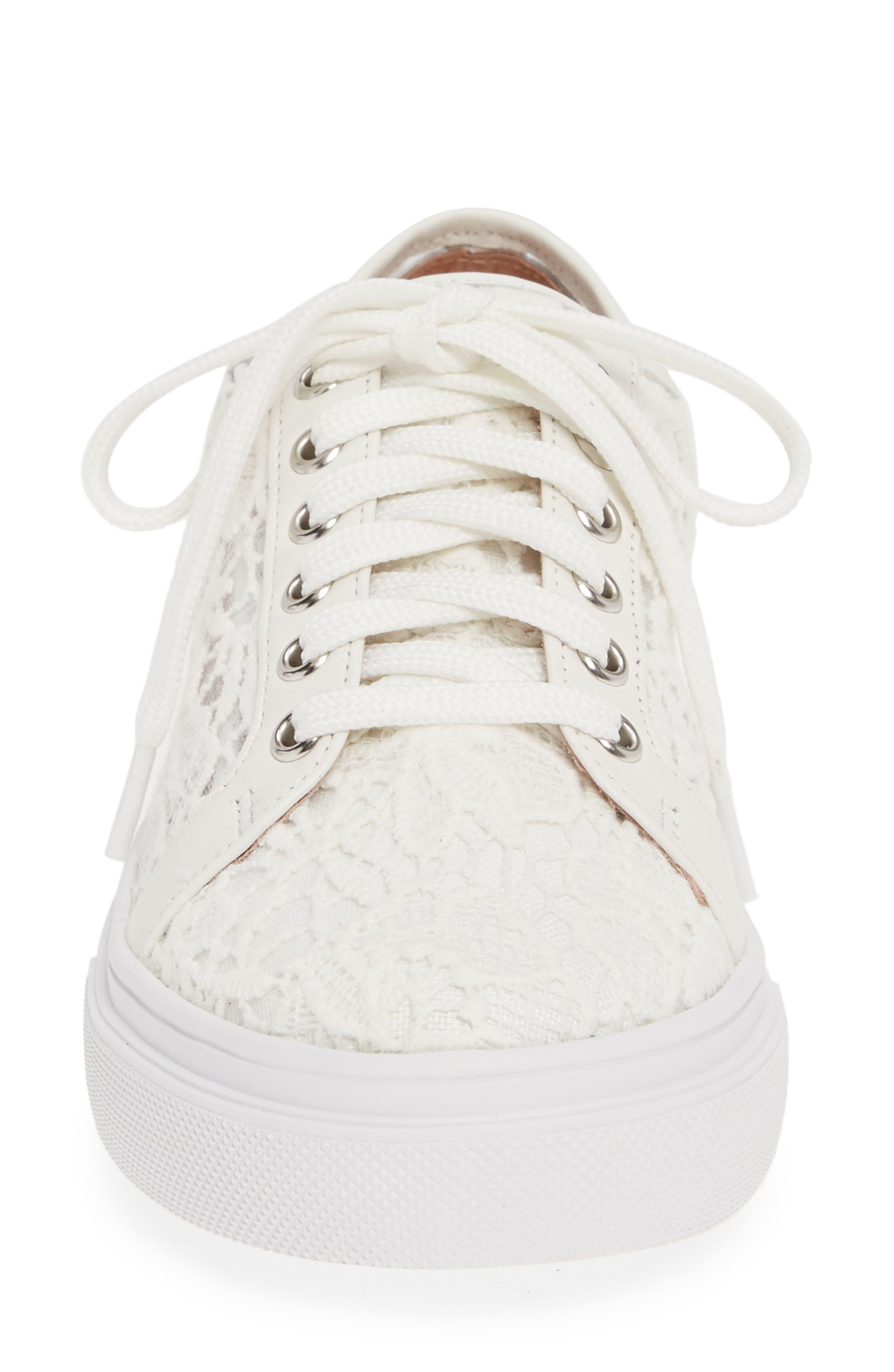 CASLON<SUP>®</SUP>, Payton Lace Sneaker, Alternate thumbnail 4, color, WHITE CROCHET