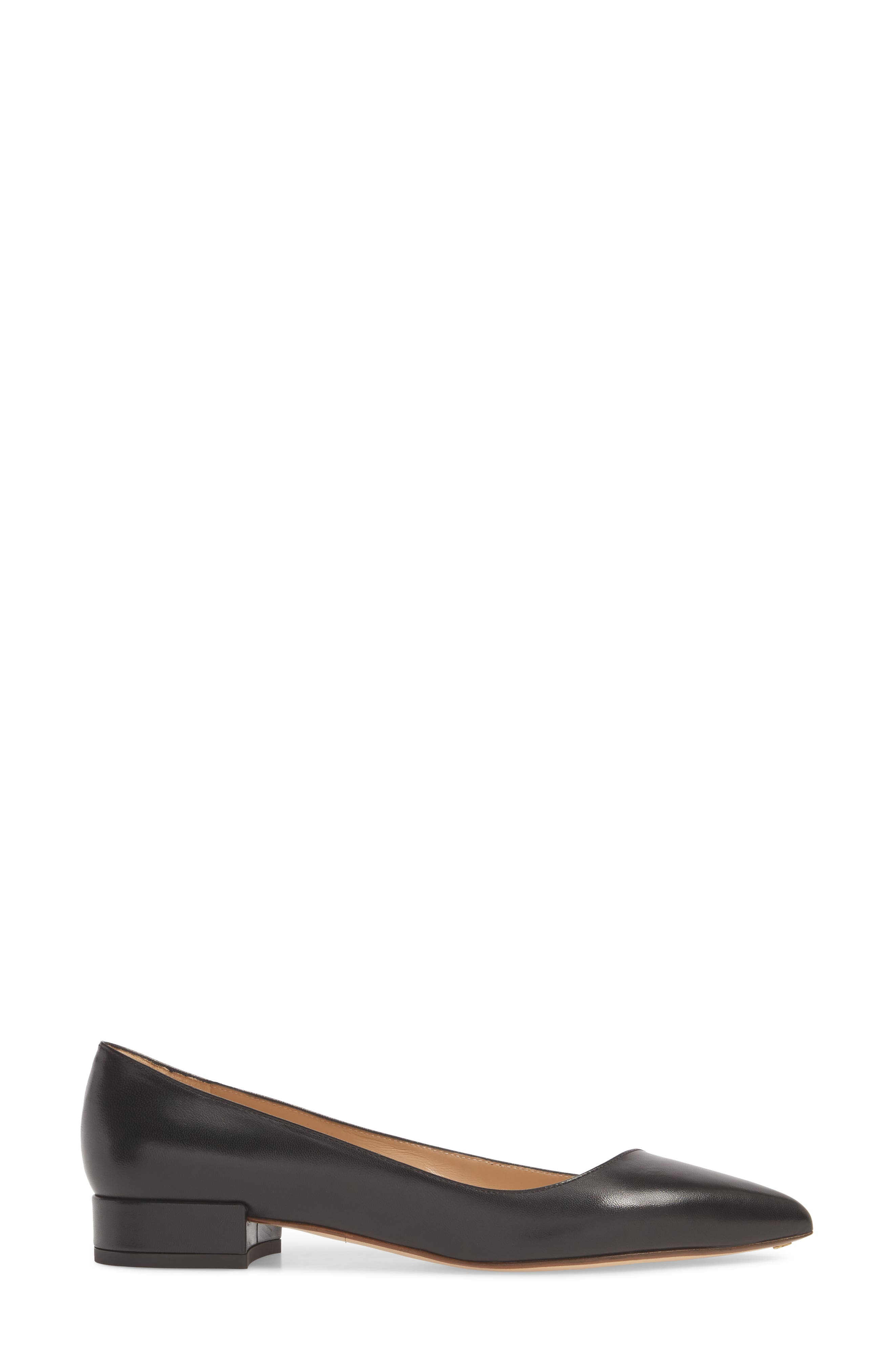 FRANCESCO RUSSO, Asymmetric Pointy Toe Flat, Alternate thumbnail 3, color, BLACK